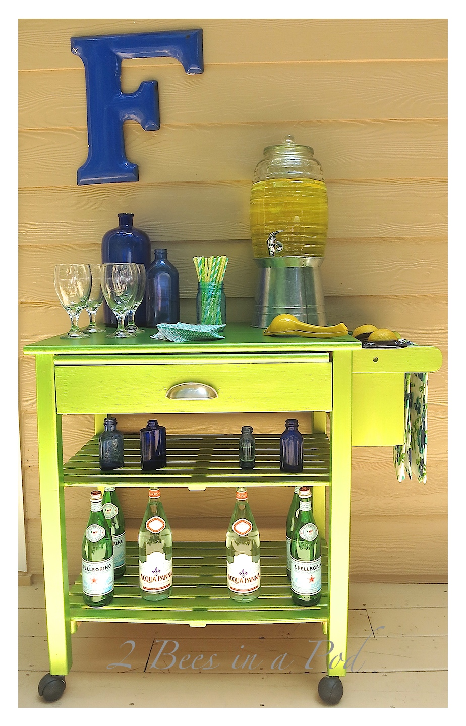 Microwave Cart Makeover to Bar Cart with Modern Masters Metallic Paint.