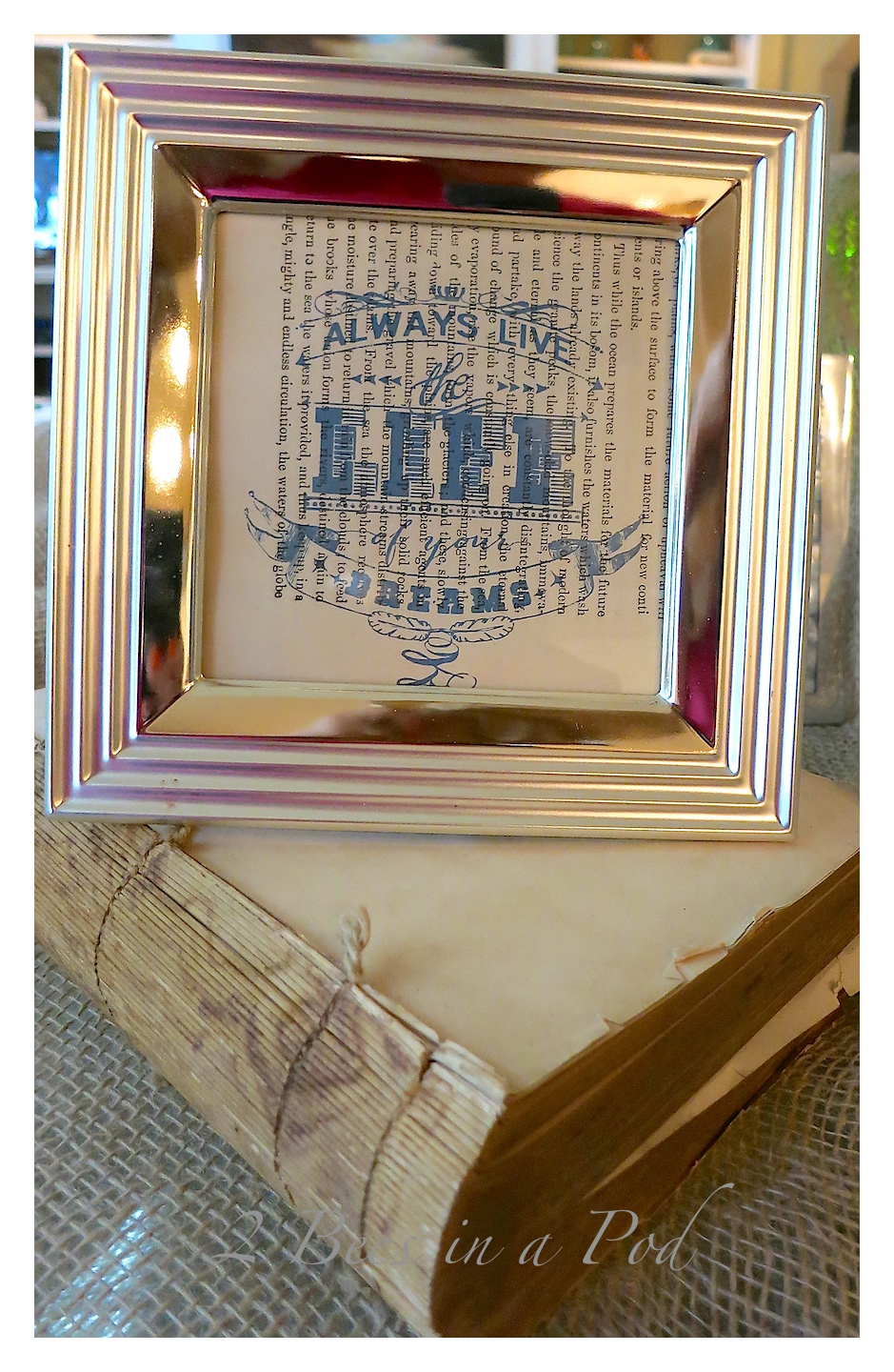 2 Minute Quick-Print Art. By using an app it is super easy to create printed quotes to be displayed in picture frames.