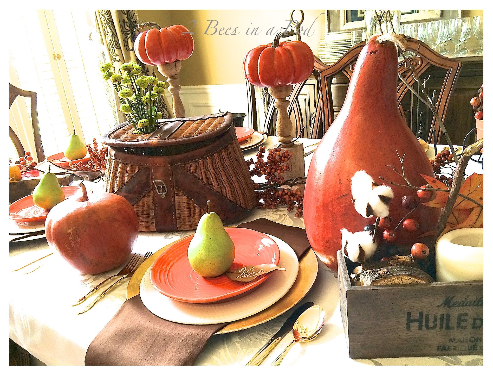Fall tablescape using bright green pears, burnt orange, vintage and rustic elements. Also the ise of natural elements - leaves, berries, cotton and twigs. This is a Bloggers Fall Tour.