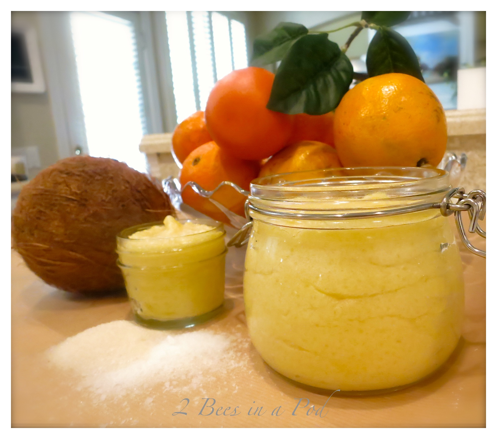 Handmade Coconut Orange Body Scrub. Super creamy and fragrant.