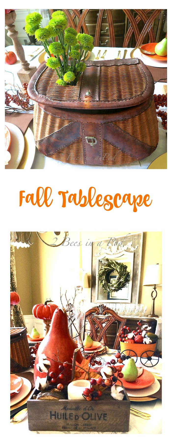 Fall tablescape. rustic Fall table with vintage decor.