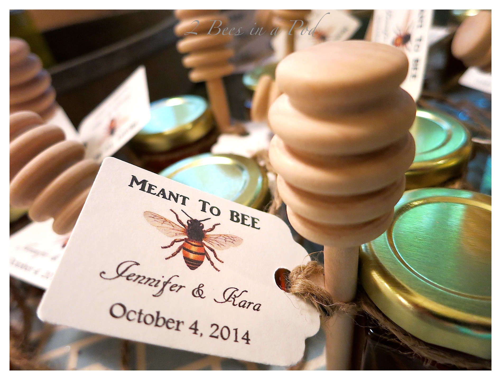 Wedding guest favors...personalized honey jars and a musical CD with the couples favorite love songs