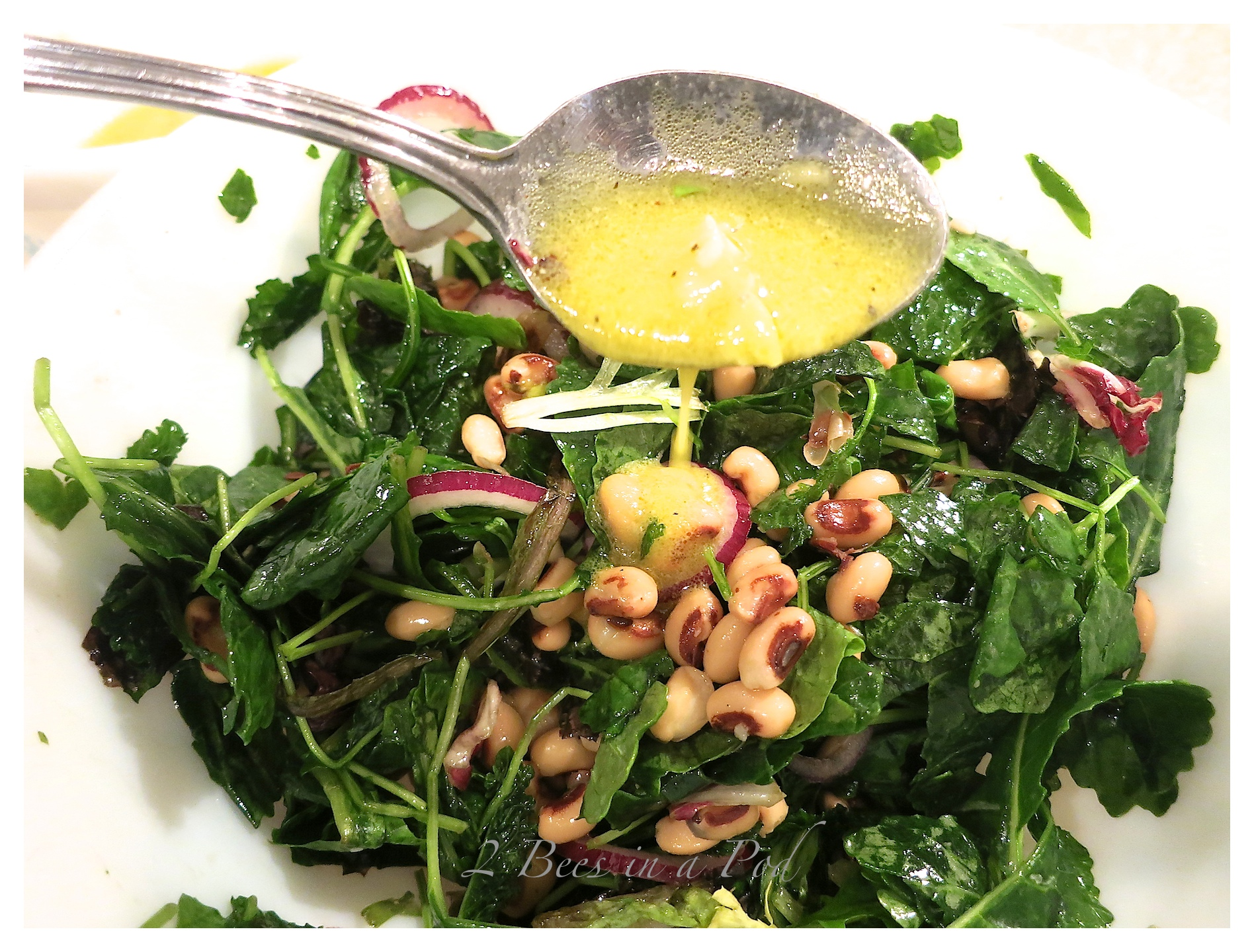 Super quick, easy and delicious recipe - Ham Steak with Kale and Black Eyed Pea Salad