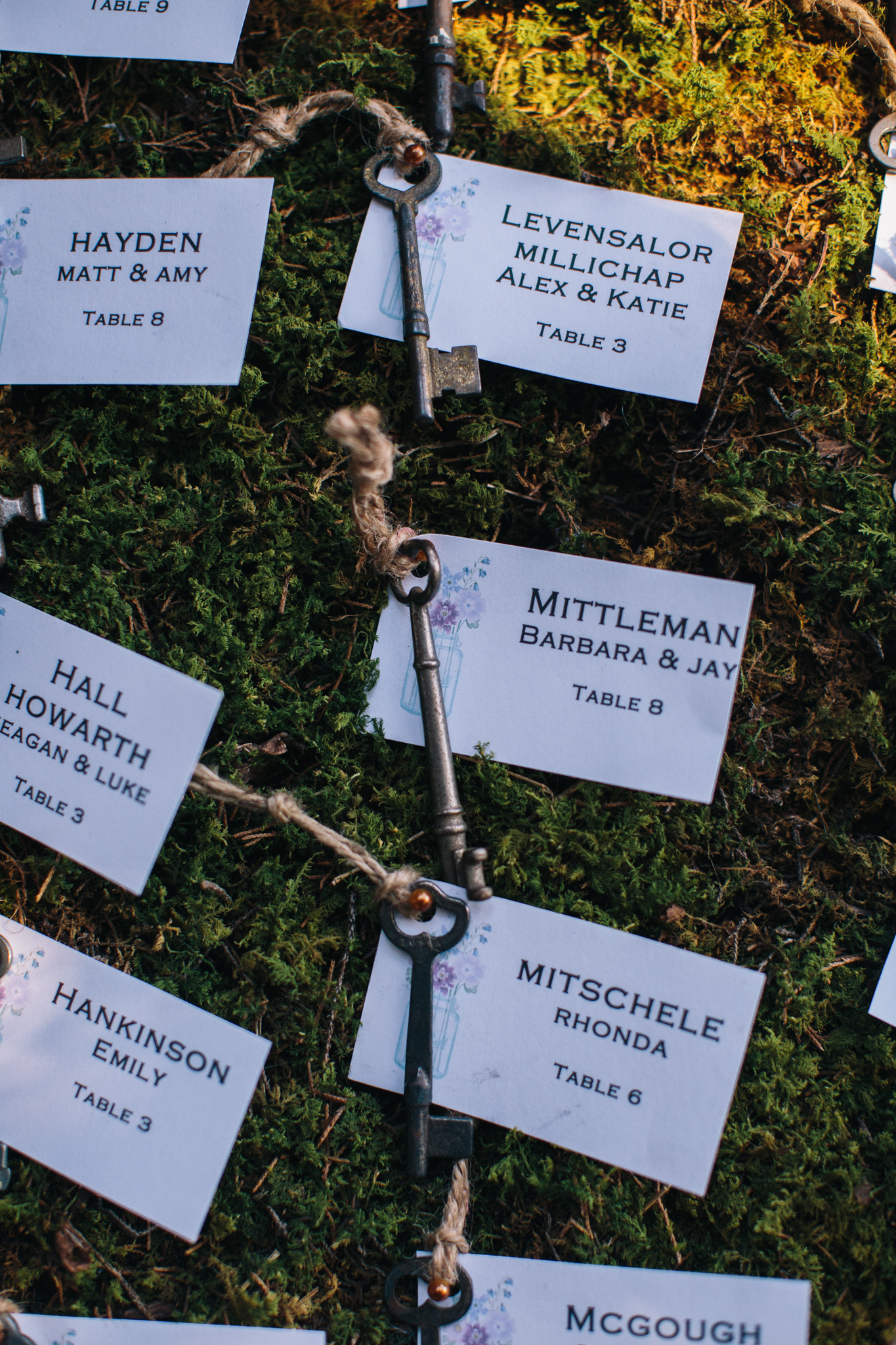 Wedding Escort Cards - keeping with our vintage and rustic theme - antique skeleton keys were used as our escort cards that matched well with our DIY table numbers. The keys and cards were added to a large, moss covered frame.