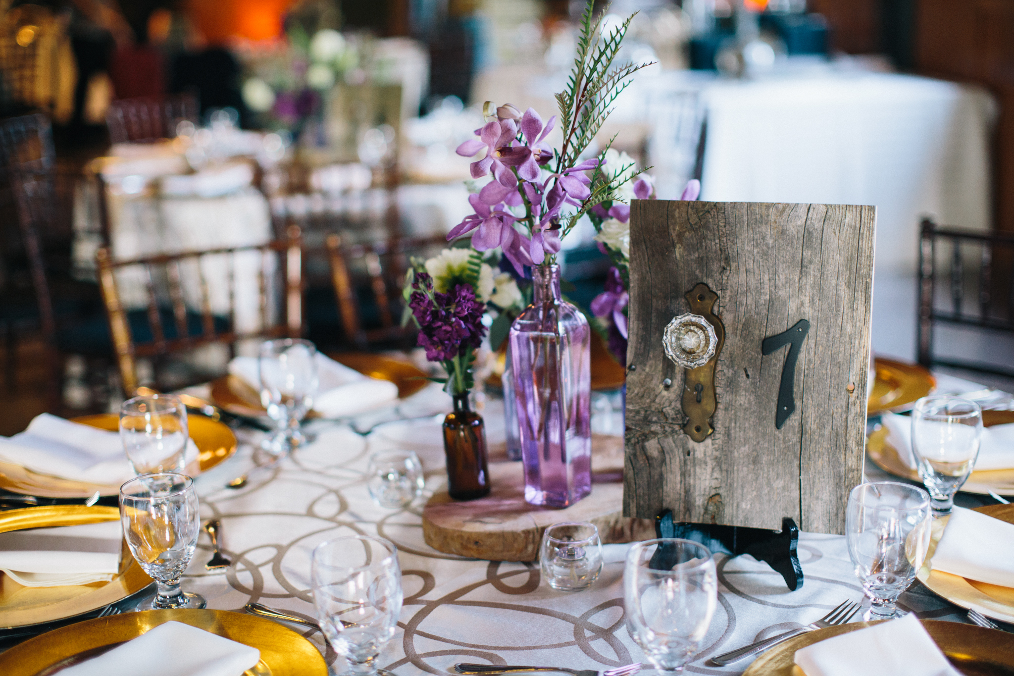 Wedding Table Numbers - DIY with reclaimed wood, antique doorknob, antique estcheons and numbers