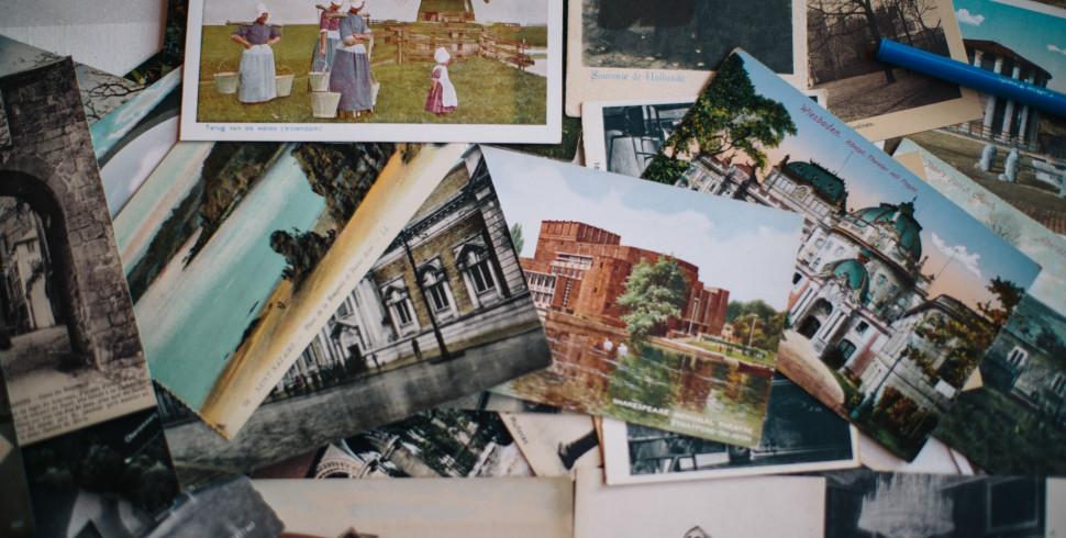Vintage Postcard Wedding Guest Book…