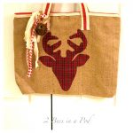 DIY reindeer burlap tote bag, no-sew, holidays,plaid, thrift