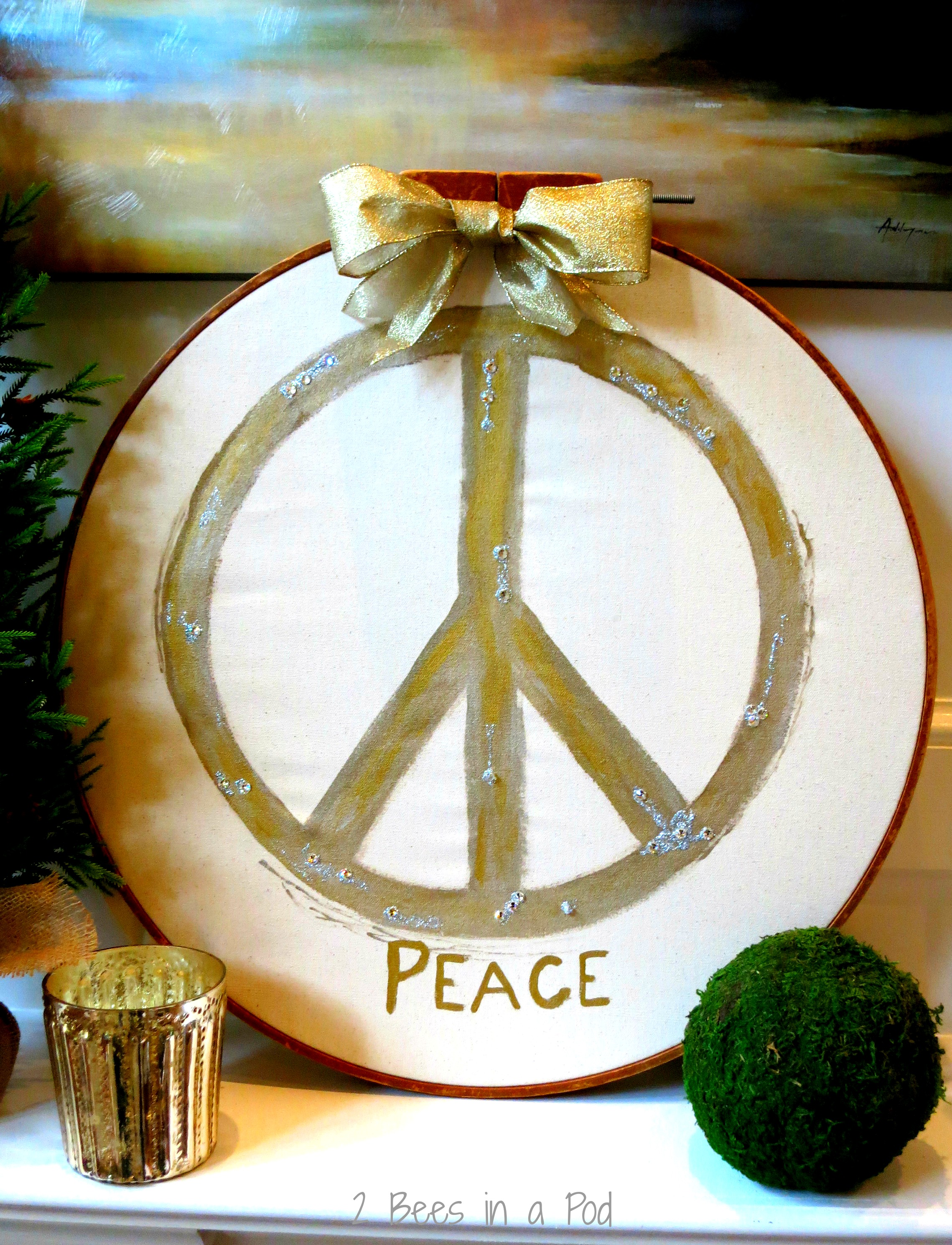 Pottery Barn inspired Peace symbol - christmas and holiday season hand painted art