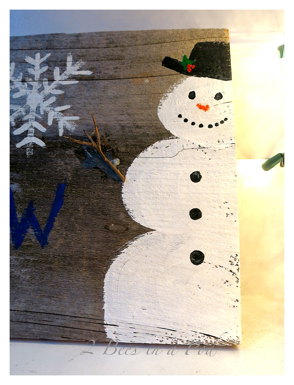 Rustic DIY Painted Christmas Holiday Snowman Art. Repurposed old fencing