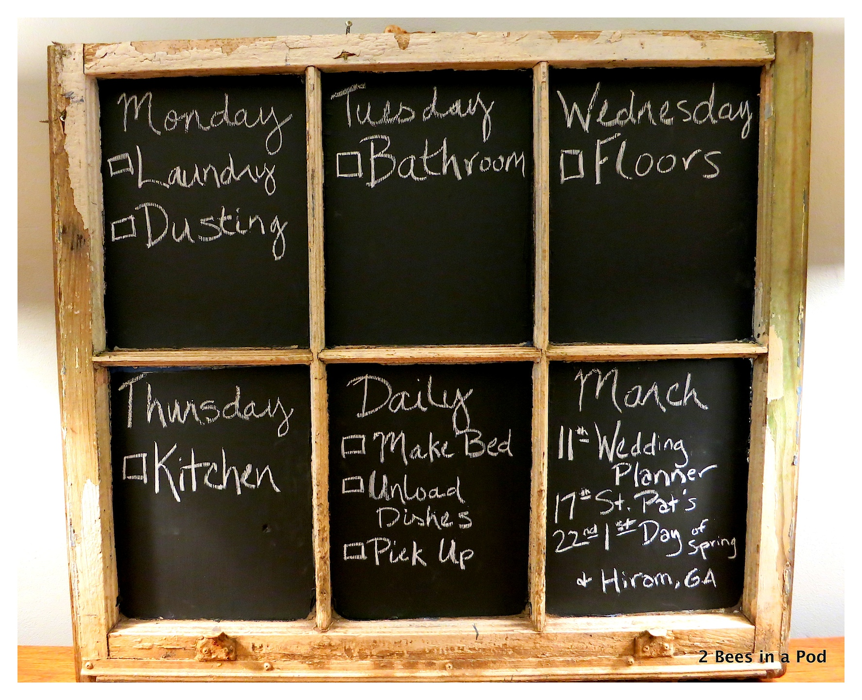 DIY Chalkboard Chore Chart using a vintage window