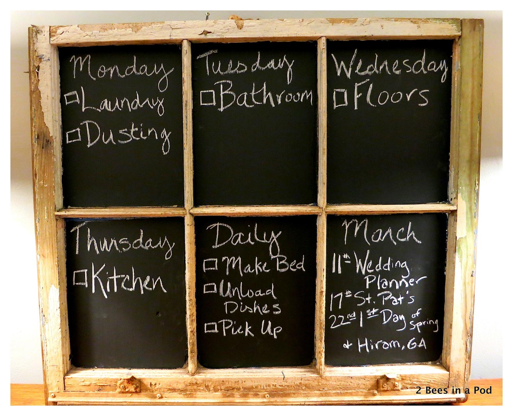 DIY Chalkboard Chore Chart using a vintage window