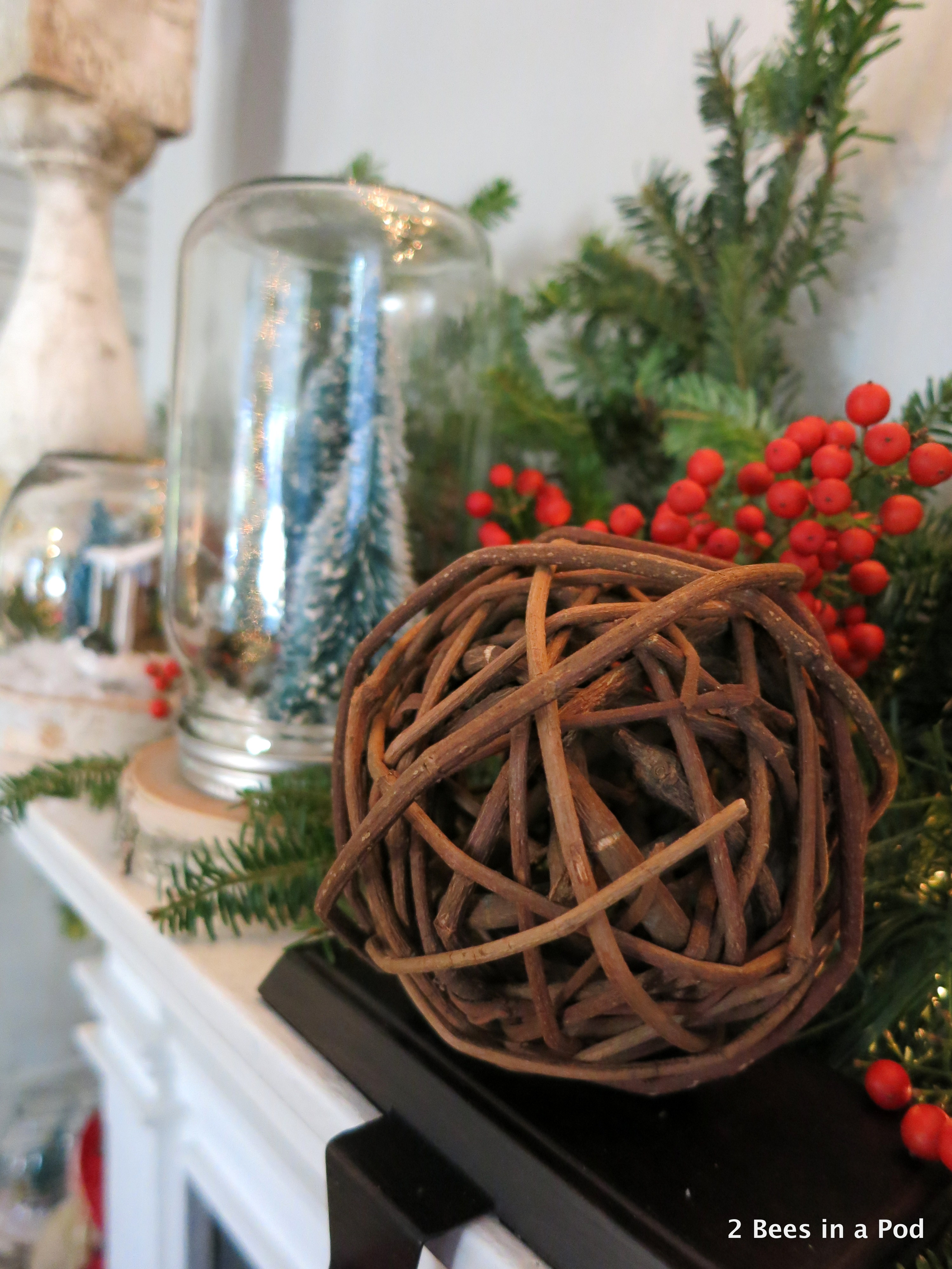 Rustic Christmas Mantel with Woodland Owls, Wood Slates, Winter Vignettes and grape wreath