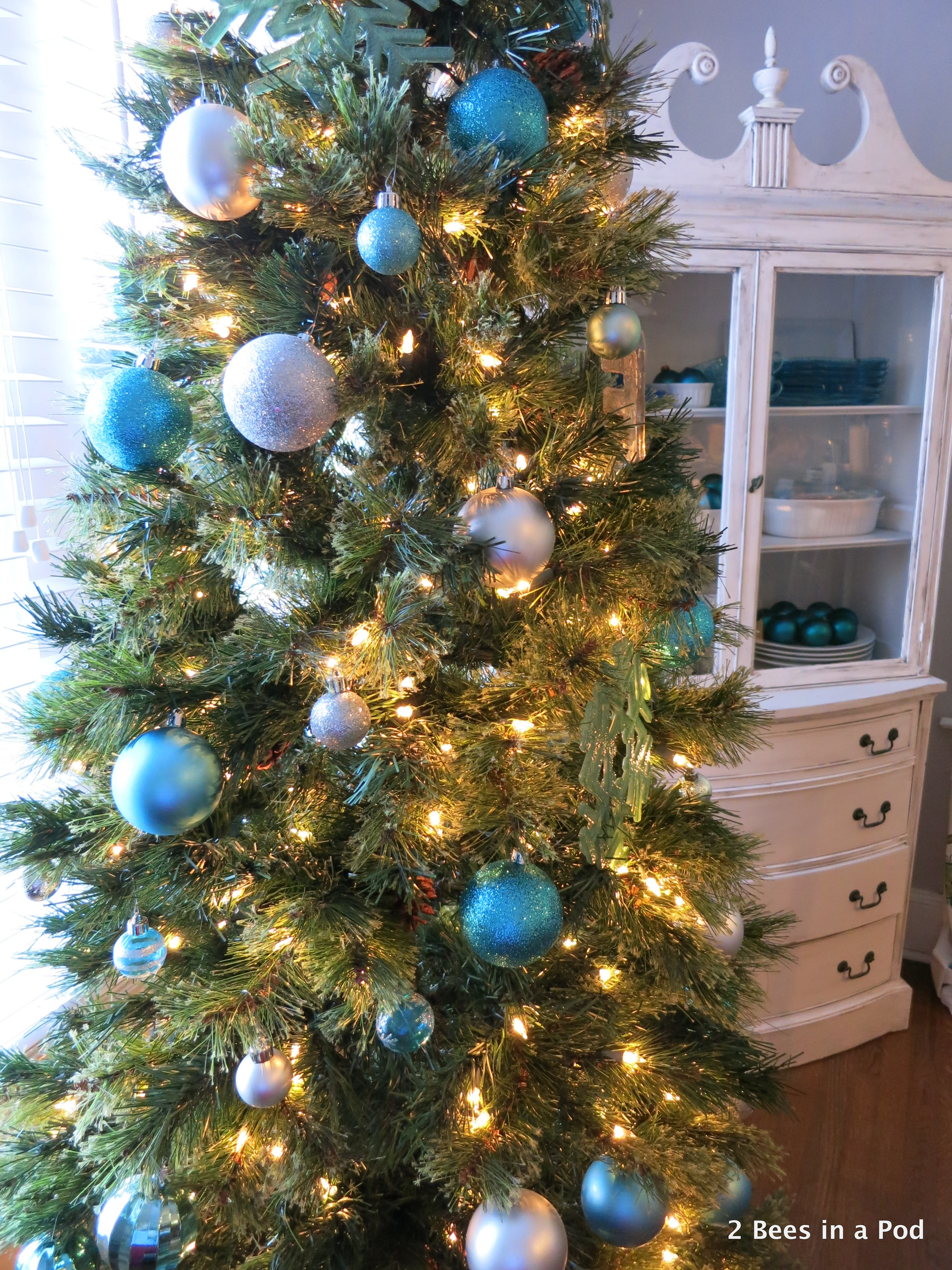 Christmas Home Tour. Dining Room Tree with blue & silver