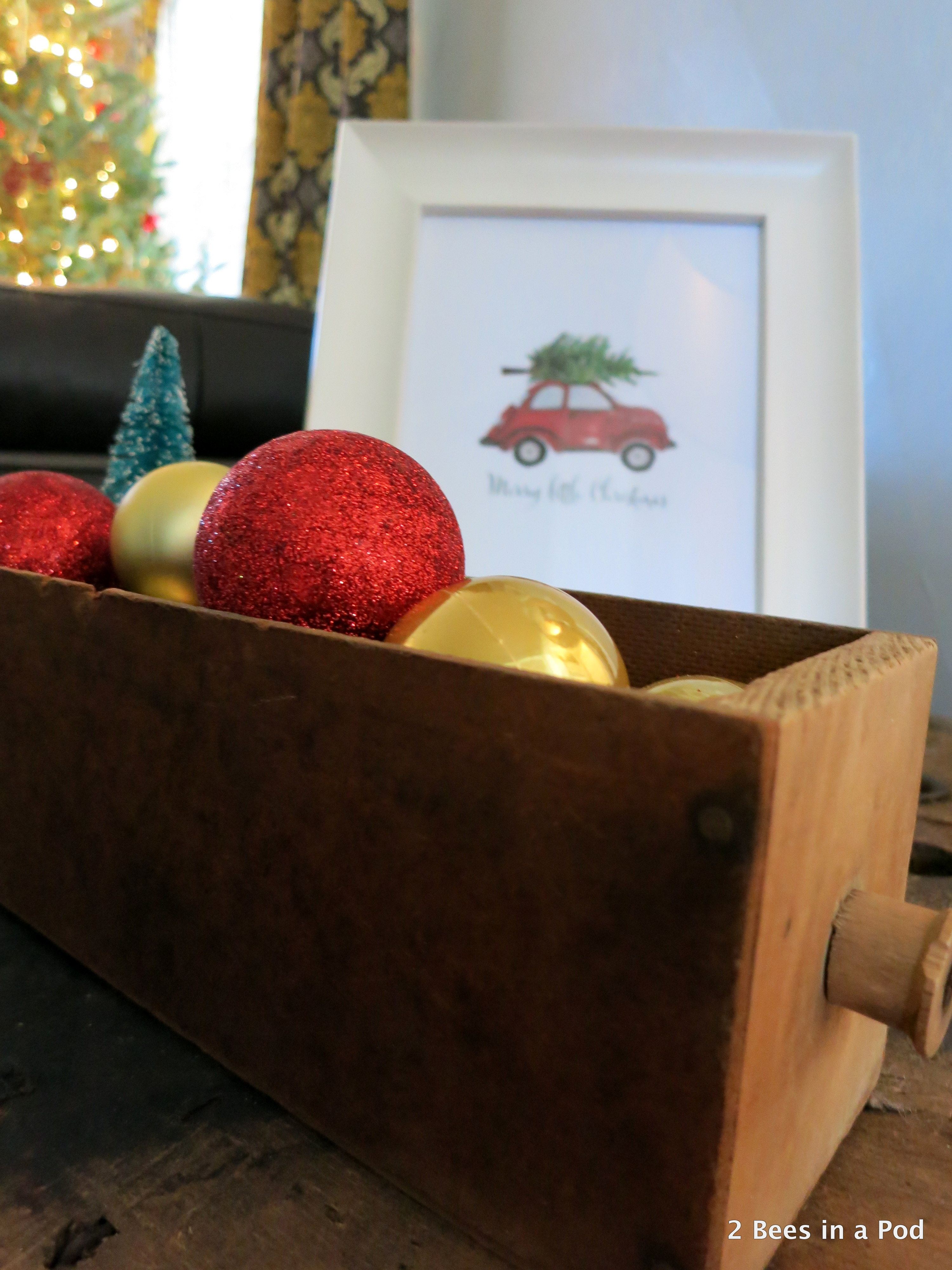 Christmas Home Tour. Old Wooden Box with Red & Gold ornaments. Merry Christmas Print by Craftberry Bush