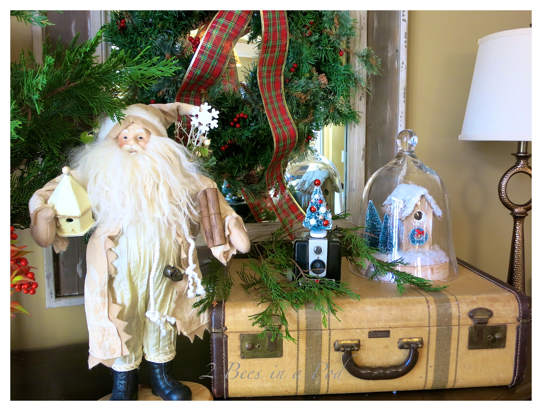 IMG_1004Christmas Home Tour 2014 - traditional green and red decor. Also rustic and vintage decor. Lots of Santas, vintage Buddy L truck and tractor