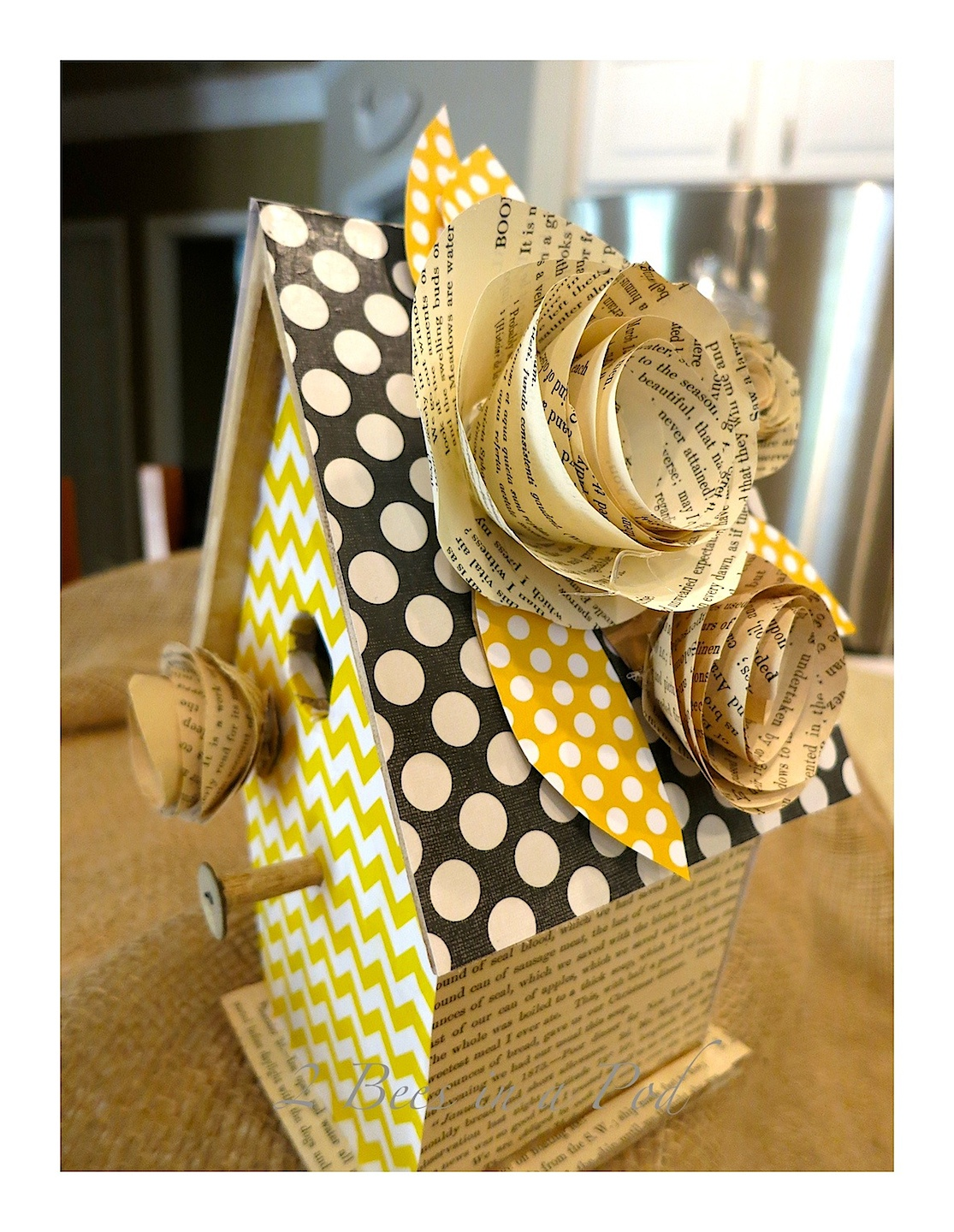 DIY Decorative Birdhouse using Antique book pages and scrapbook paper