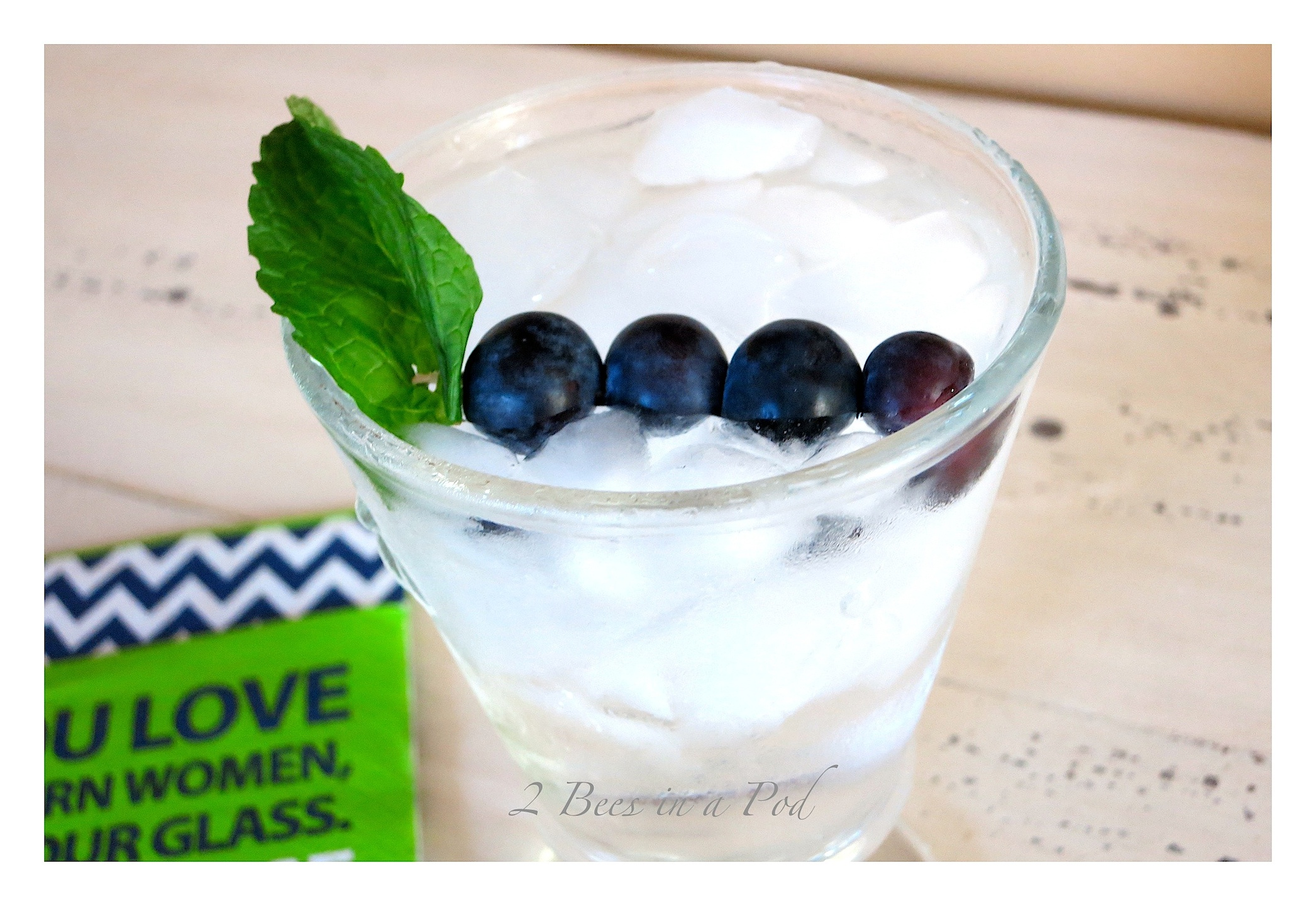 Summer Blue Cocktail - blueberry vodka, club soda and fresh blueberries and mint. A lighter cocktail.
