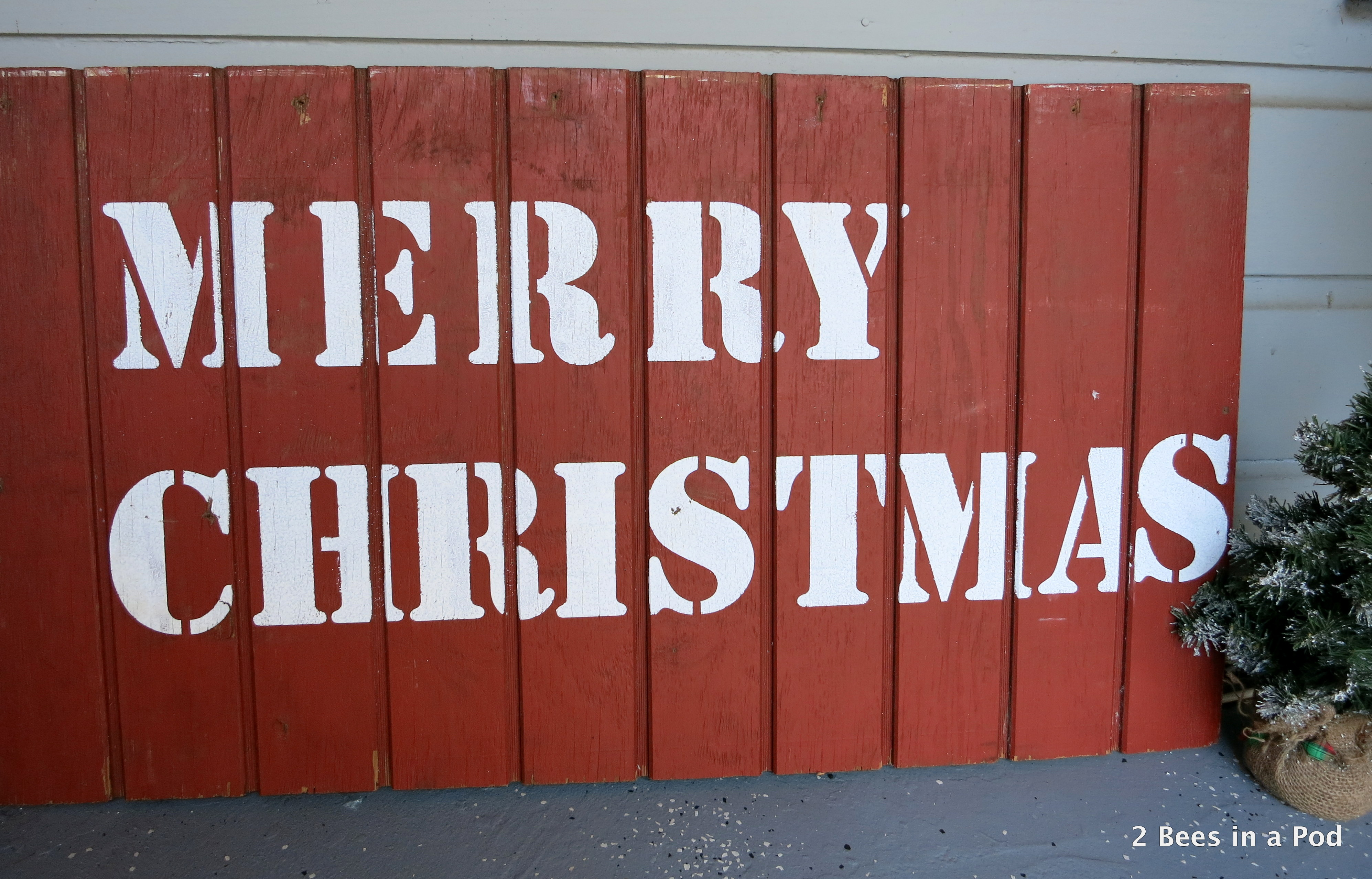 Rustic DIY Merry Christmas Handpainted Sign