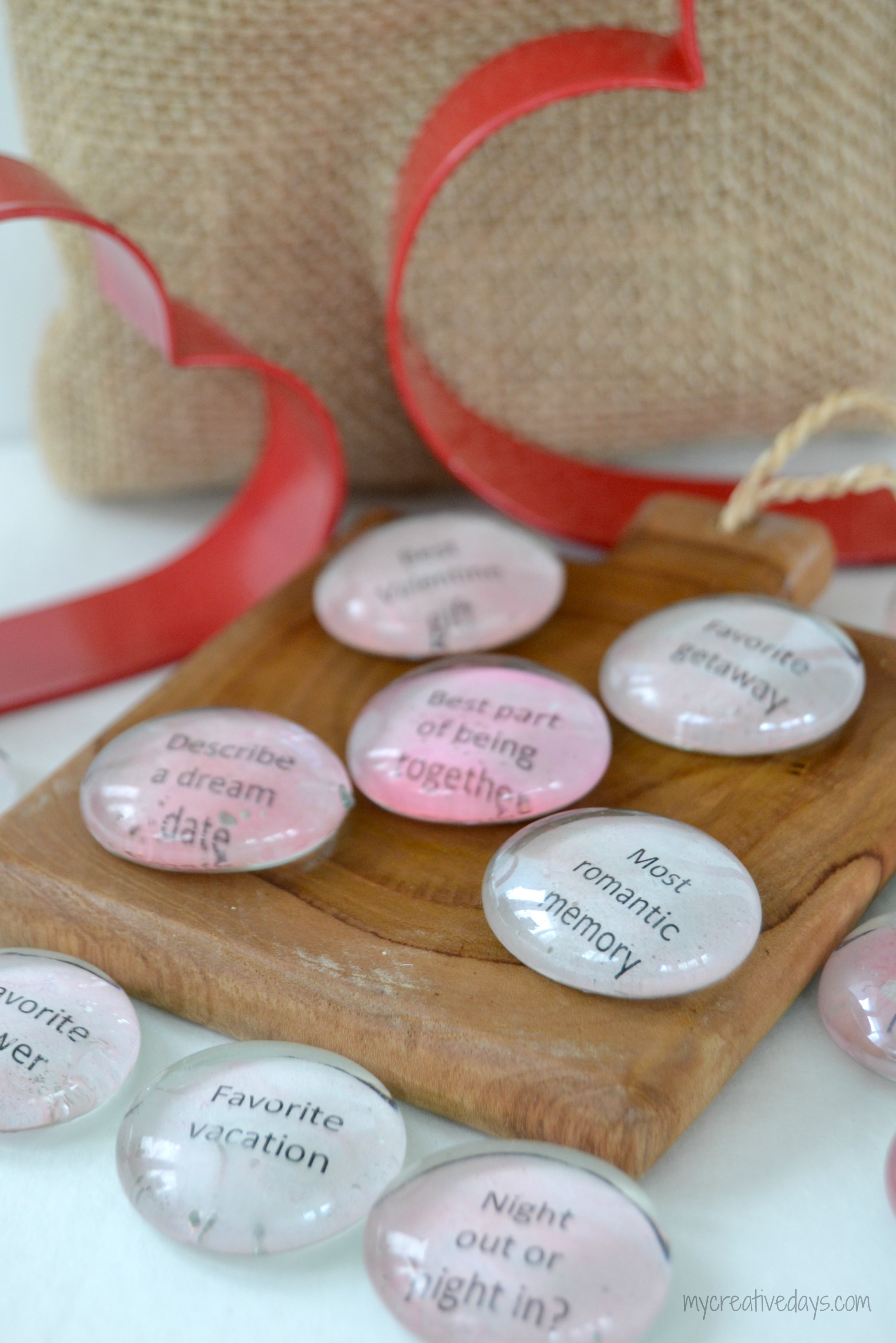 Cute DIY Valentine Conversation Stones with phrases of love.