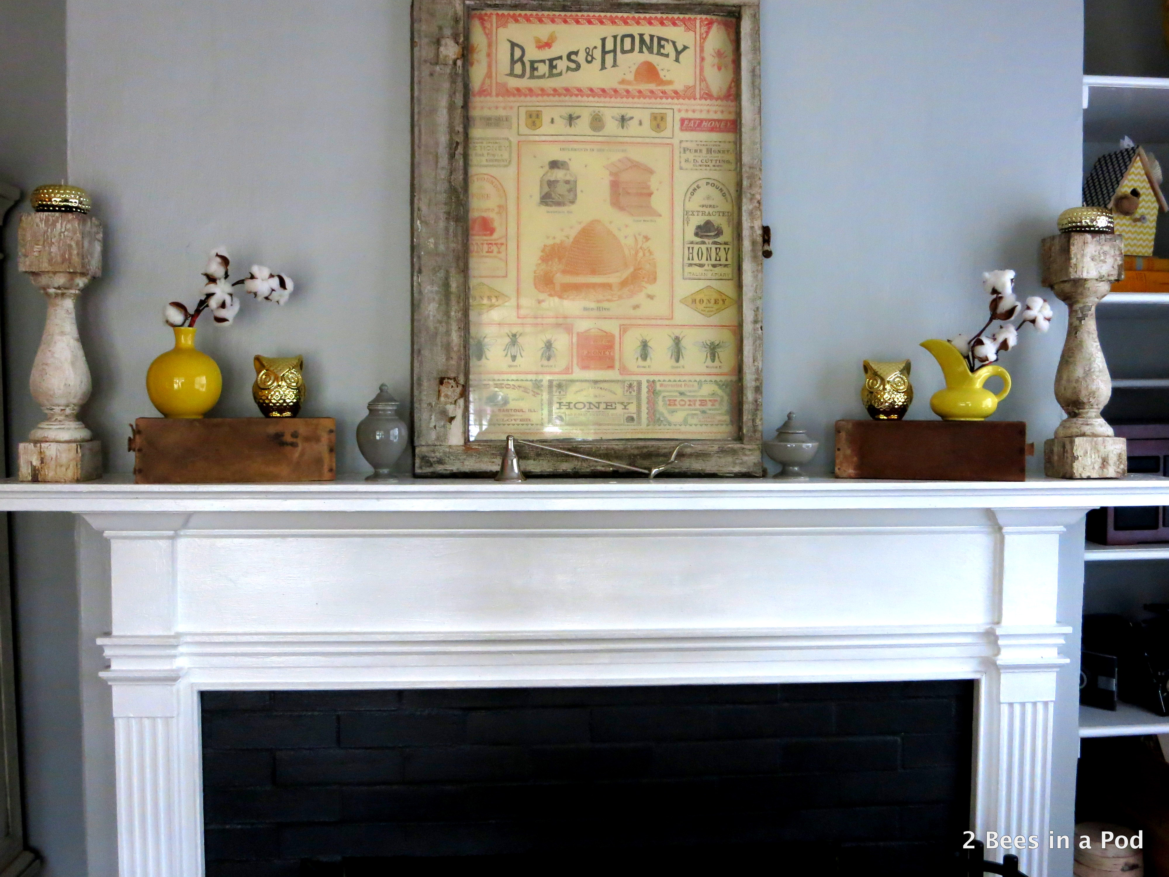Rustic Mantel Refresh with cotton, owls, yellow vases, honey bee print, window.