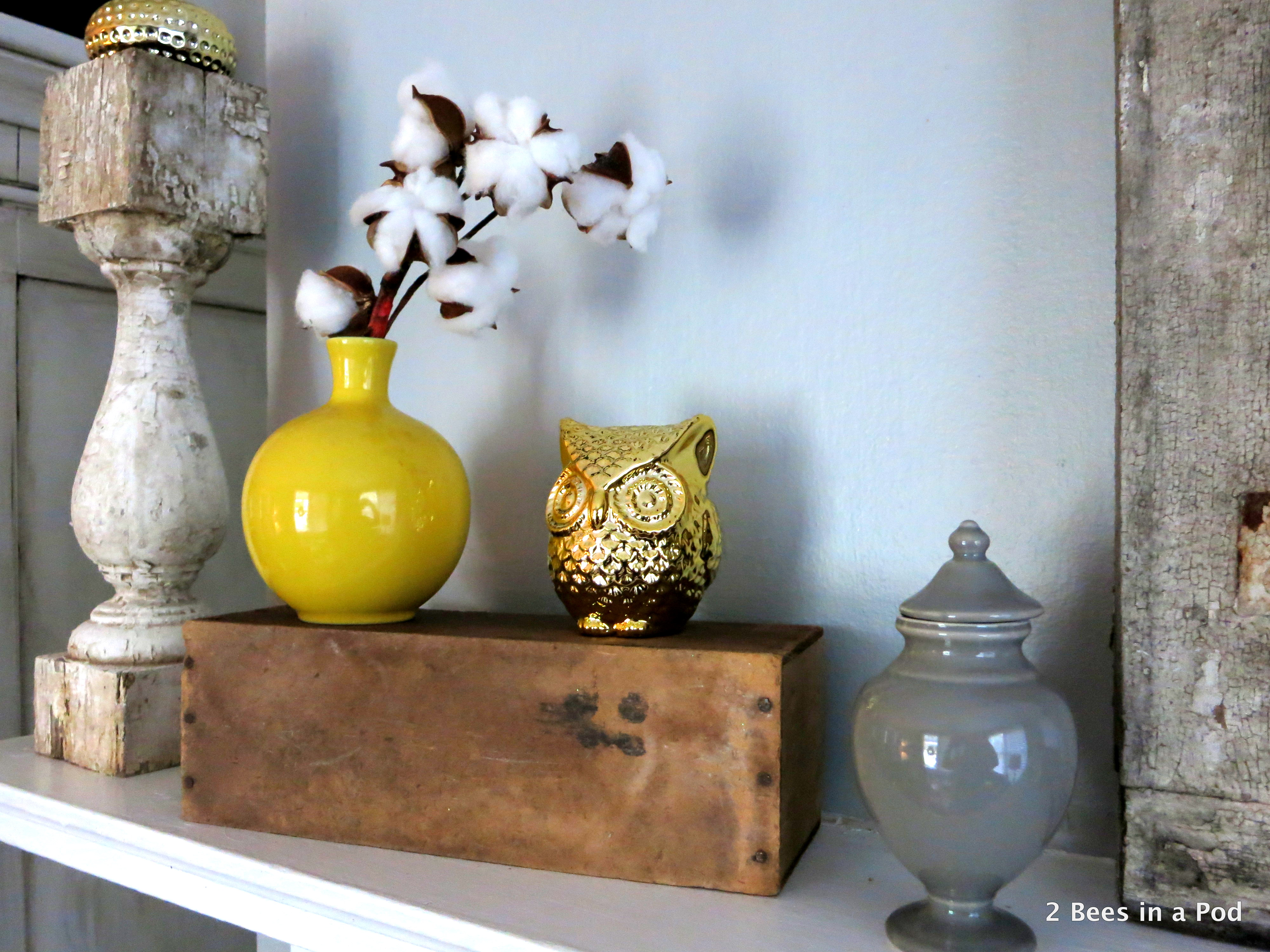 Rustic Mantel Refresh with cotton, owls, yellow vases, honey bee print, window. 2