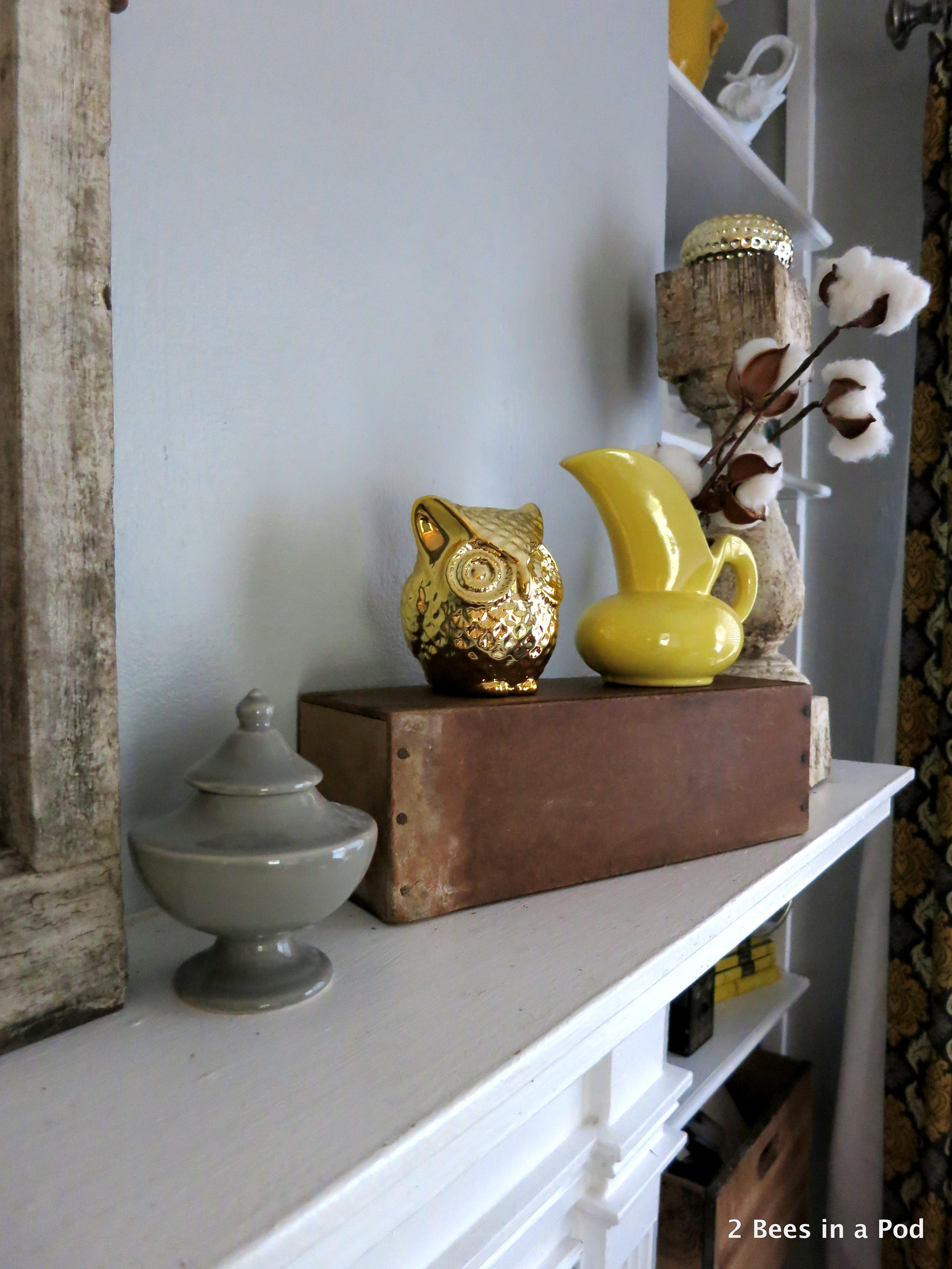 Rustic Mantel Refresh with cotton, owls, yellow vases, honey bee print, window. 3