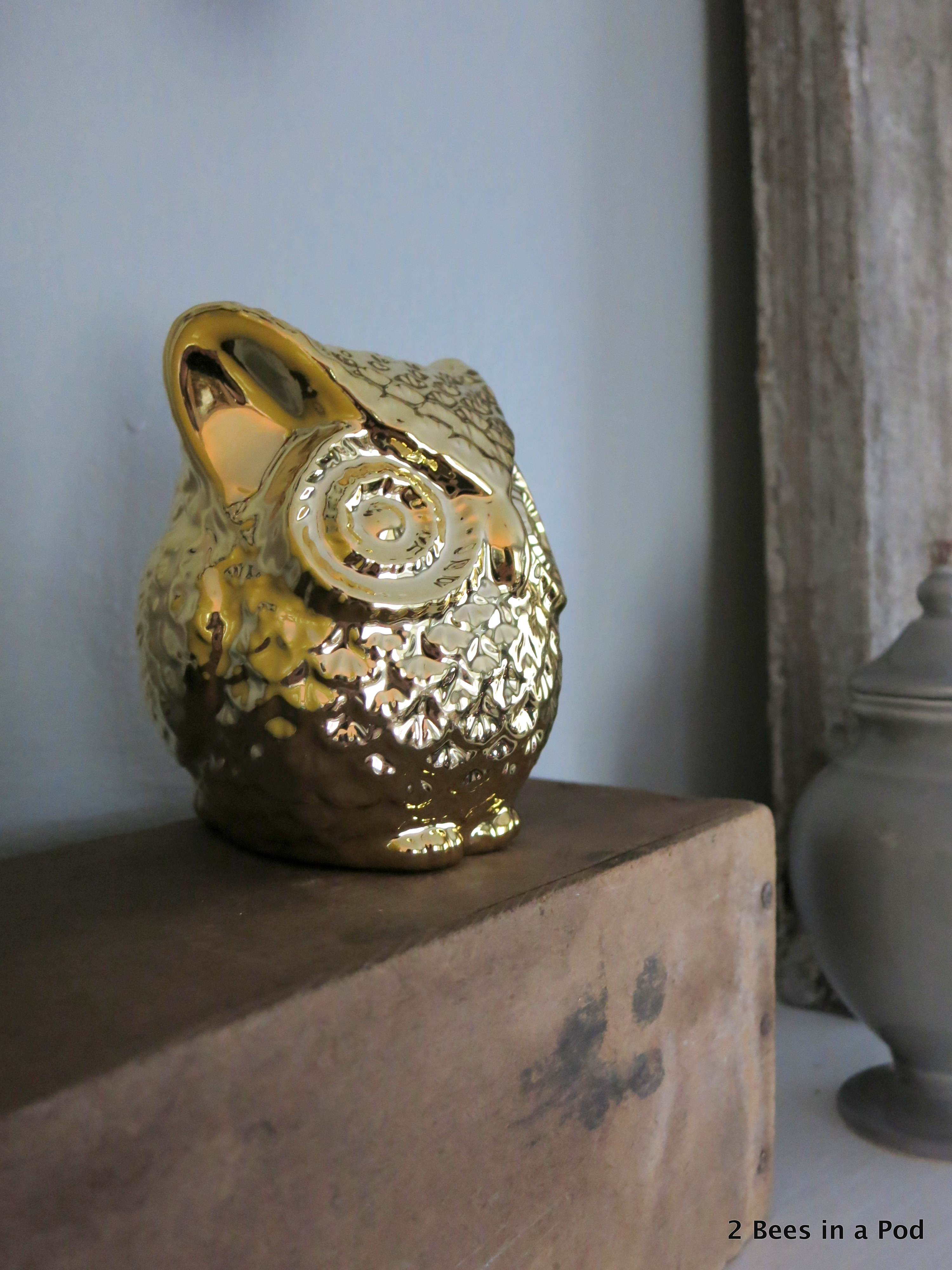 Rustic Mantel Refresh with cotton, owls, yellow vases, honey bee print, window. 4