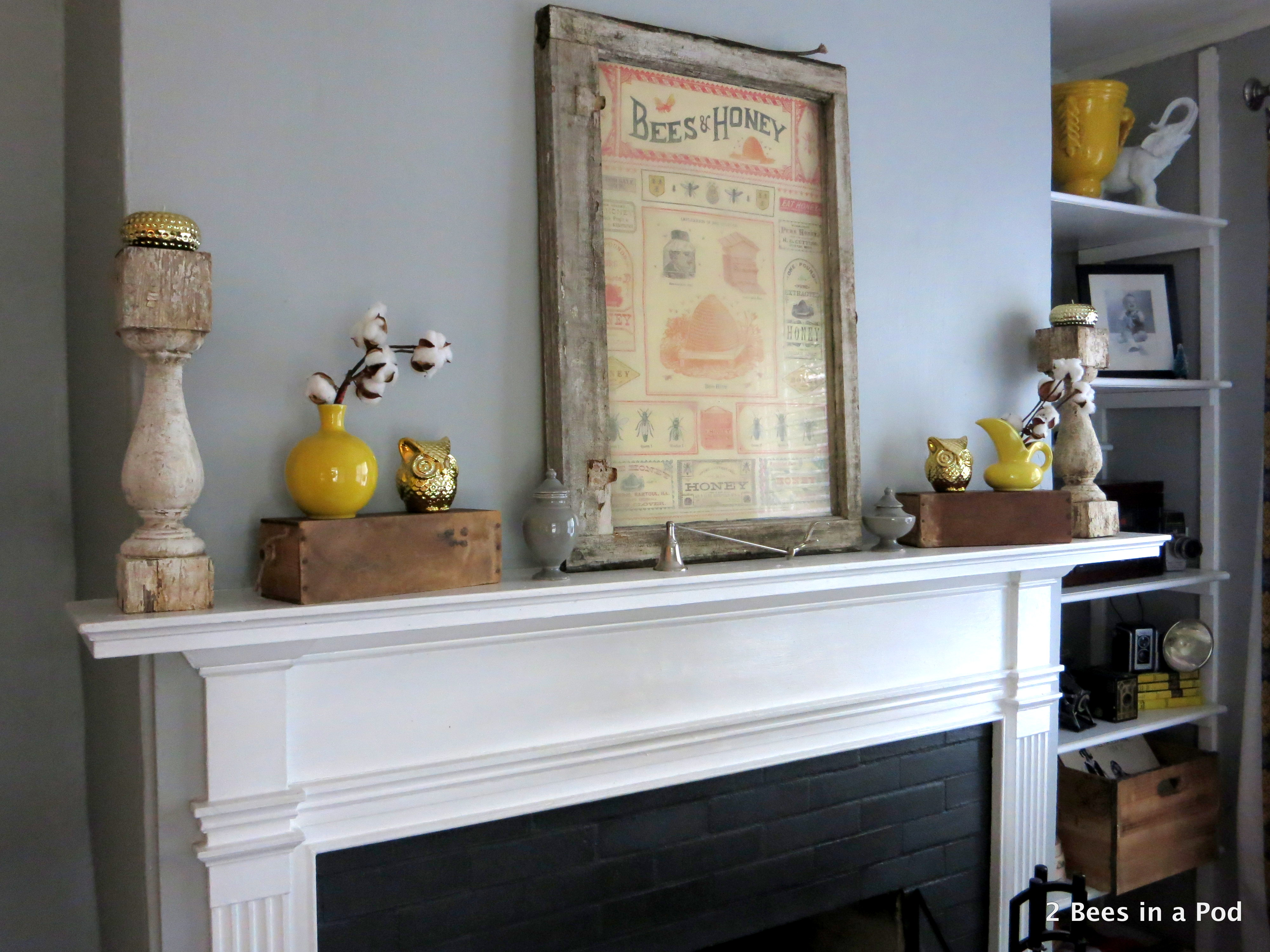 Rustic Mantel Refresh with cotton, owls, yellow vases, honey bee print, window
