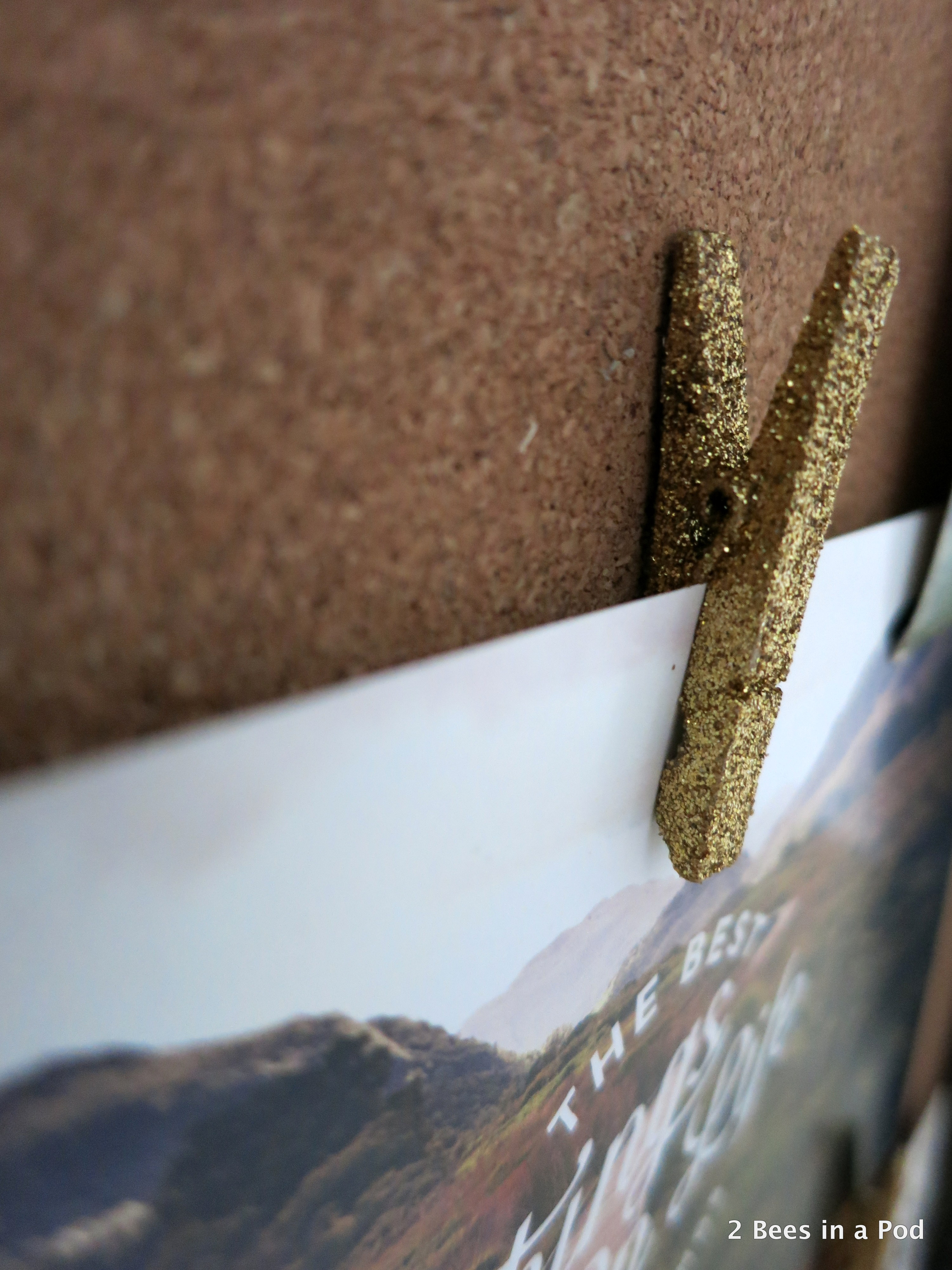 Gold Sparkle Clothes Pin for Home Office Bulletin Board