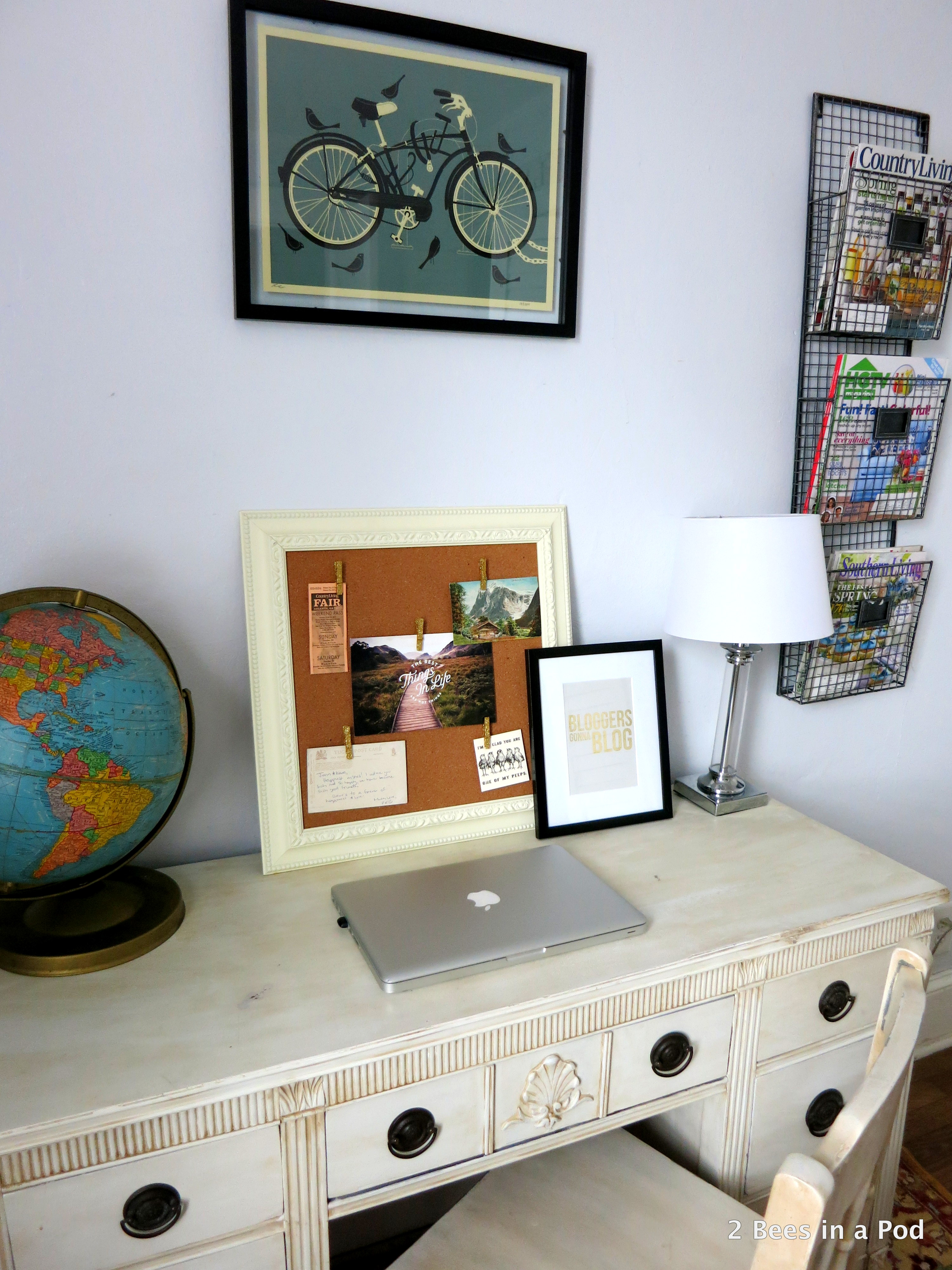 Home Office with vintage globe, painted furniture, Bloggers Gonna Blog print 3