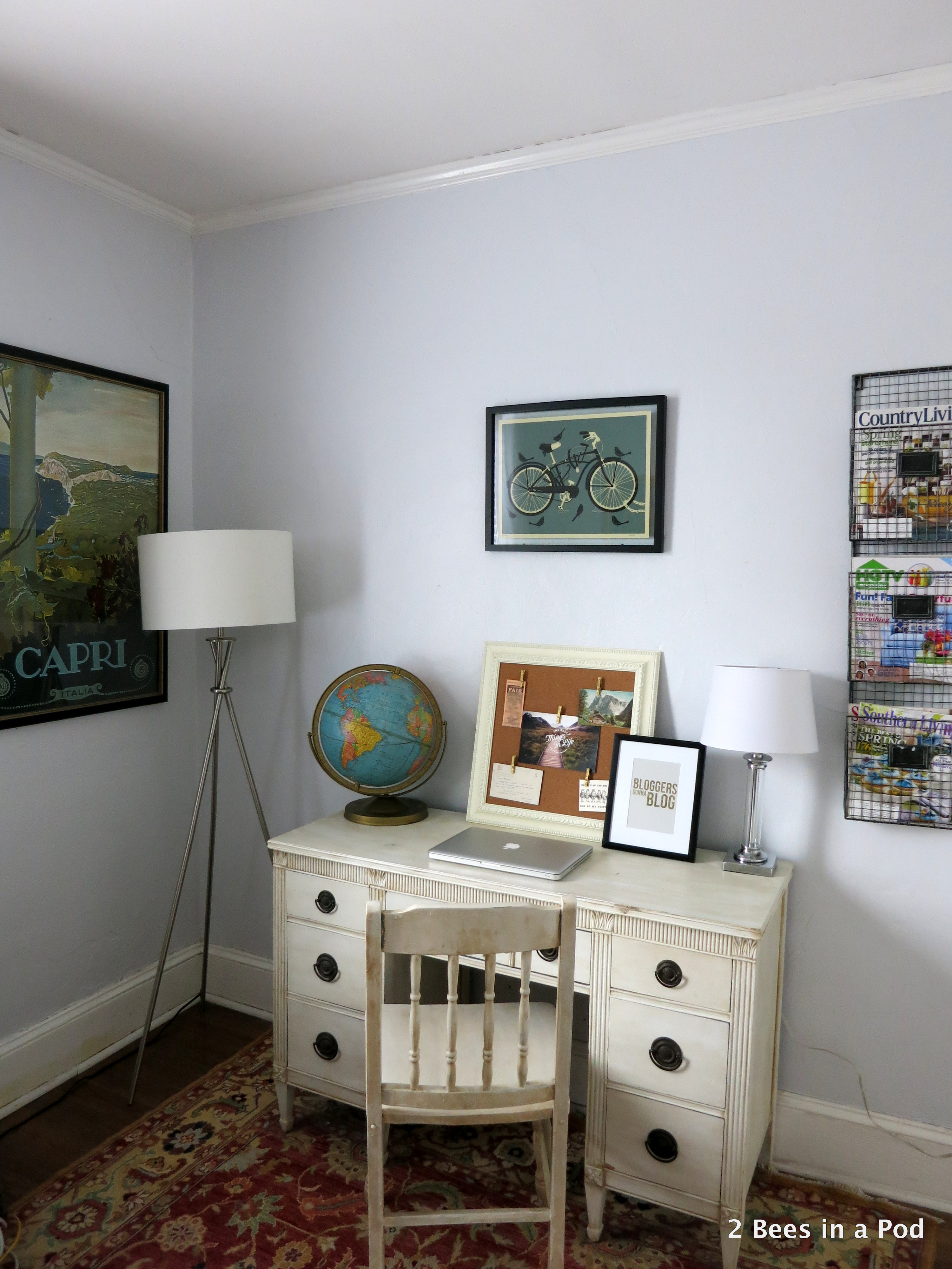 Home Office with vintage globe, painted furniture, Bloggers Gonna Blog print 4