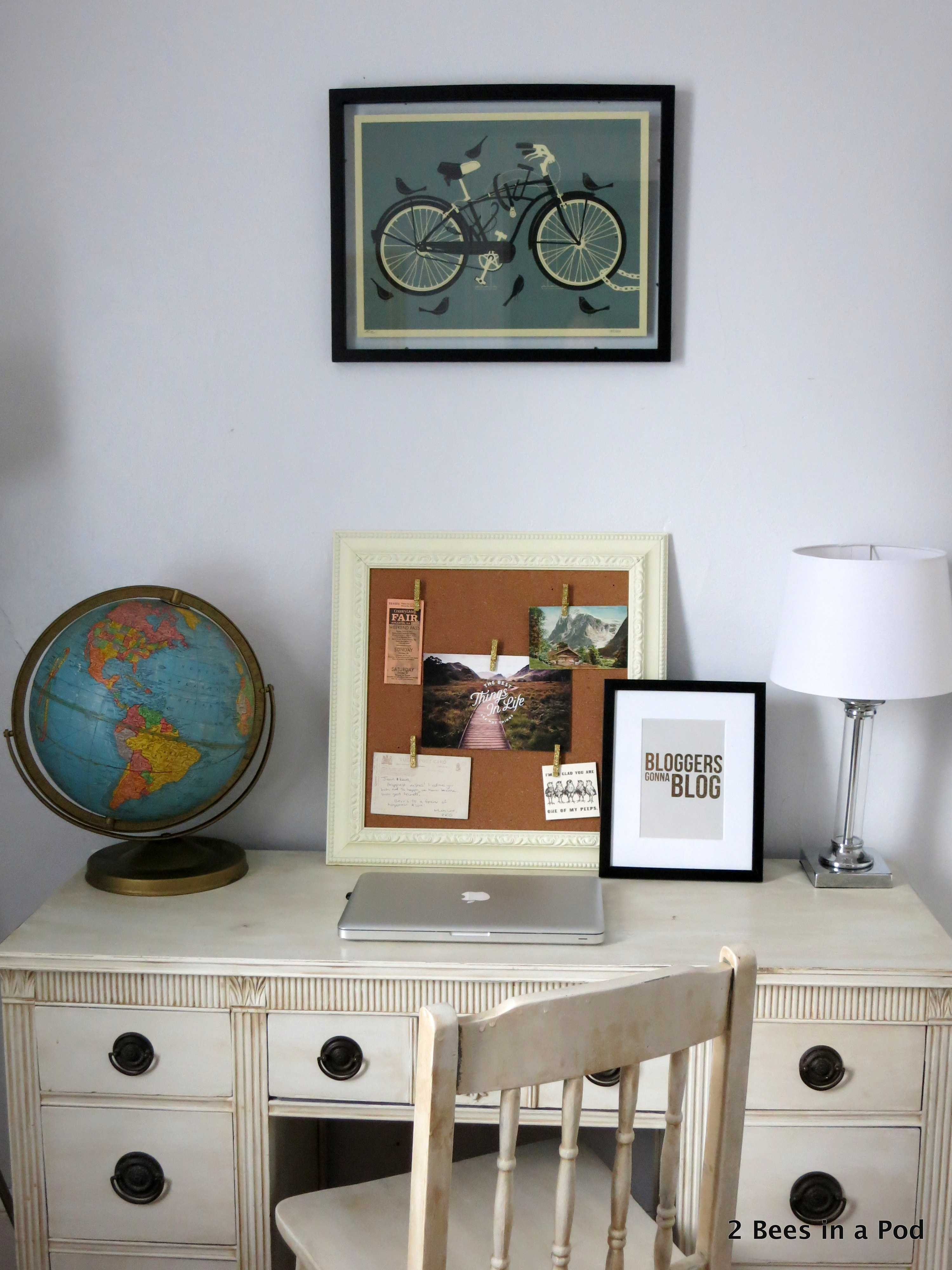 Home Office with vintage globe, painted furniture, Bloggers Gonna Blog print