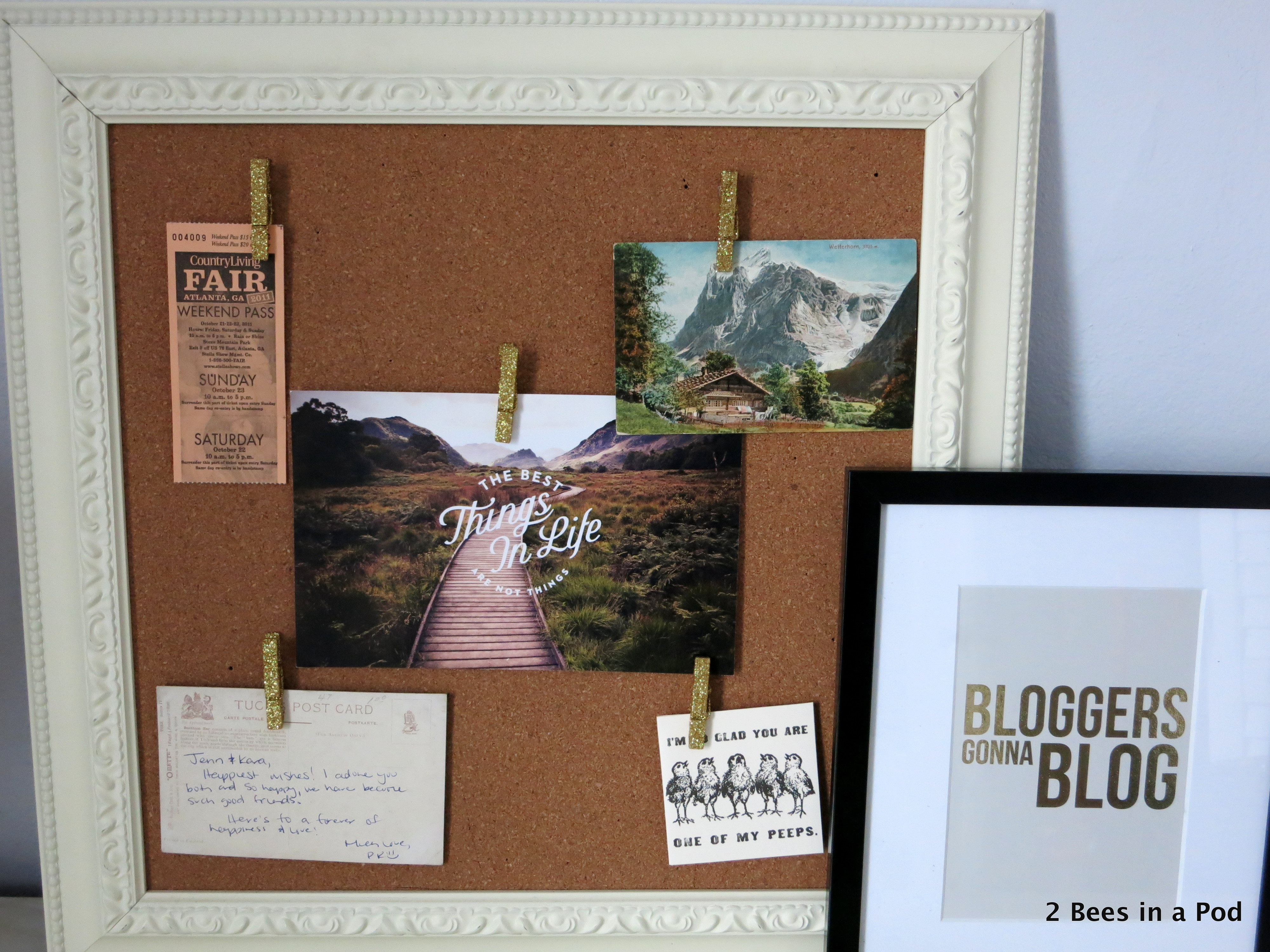 Home Office with vintage postcards, The Best Things in Life are not Things,  Bloggers Gonna Blog print