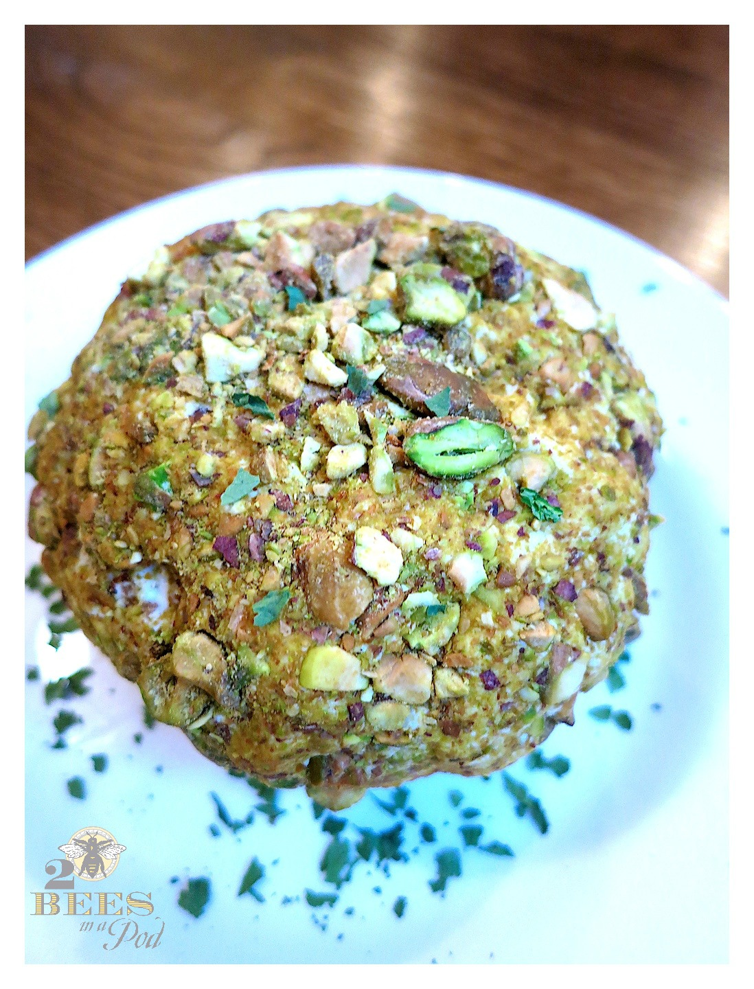 Delicious Appetizer or Treat - Goat Cheese, Bacon and Pistachio Cheese Ball. Super easy and quick to make!