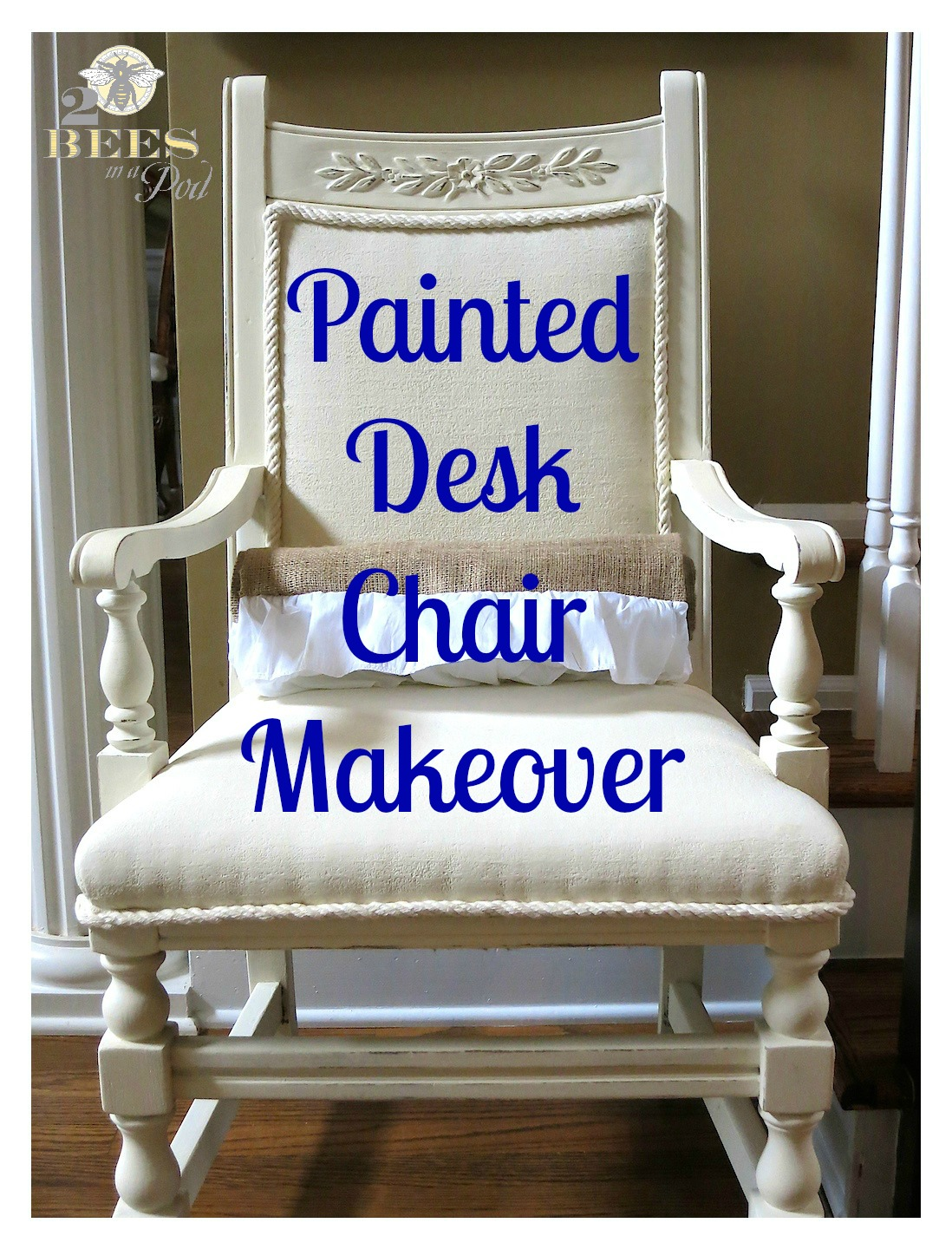 chair makeover - yes, even the fabric is painted for a complete transformation