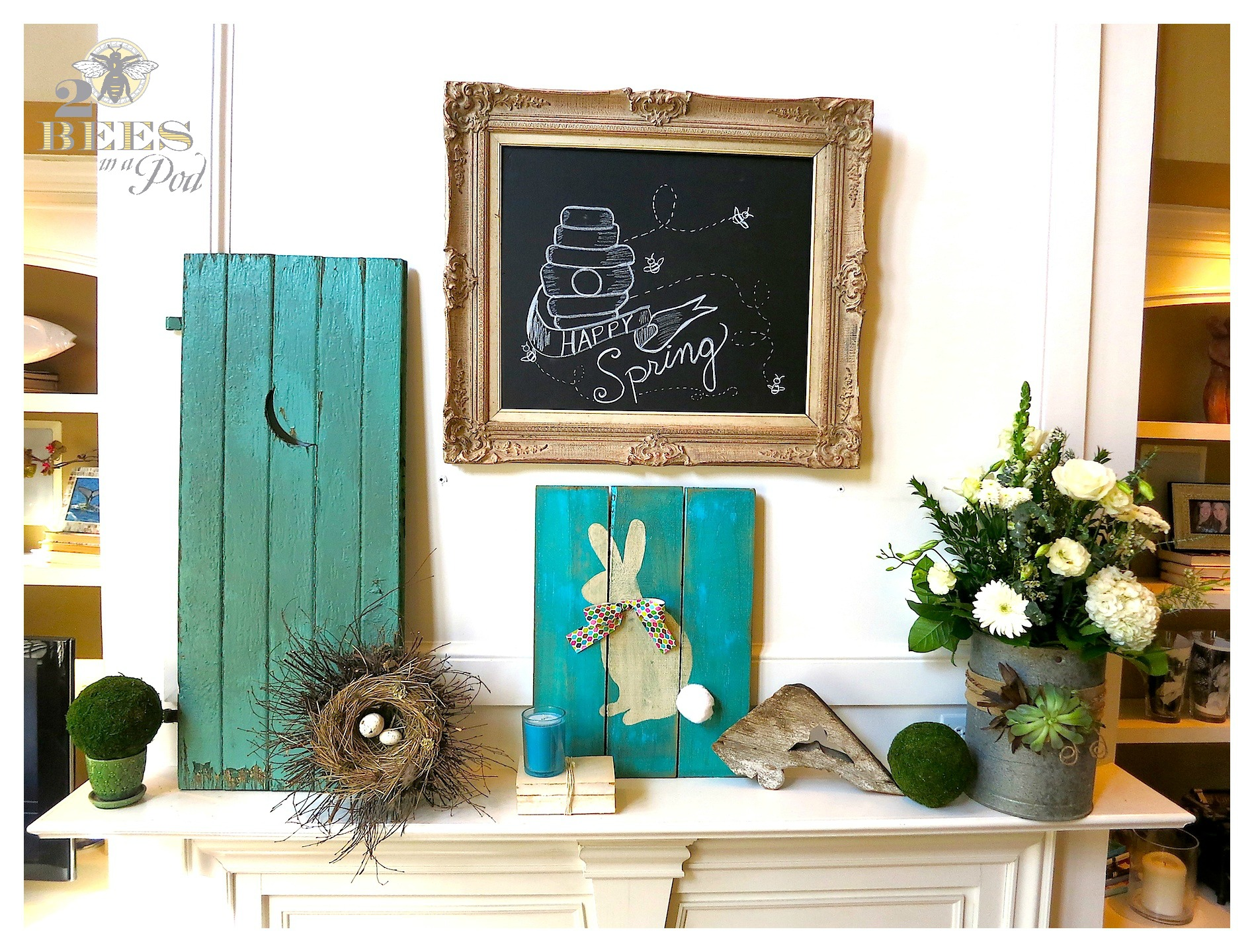 Spring Mantle Update - bright turquoise and vintage, weathered decor. Fresh white flowers, bunny, moss, bird nest