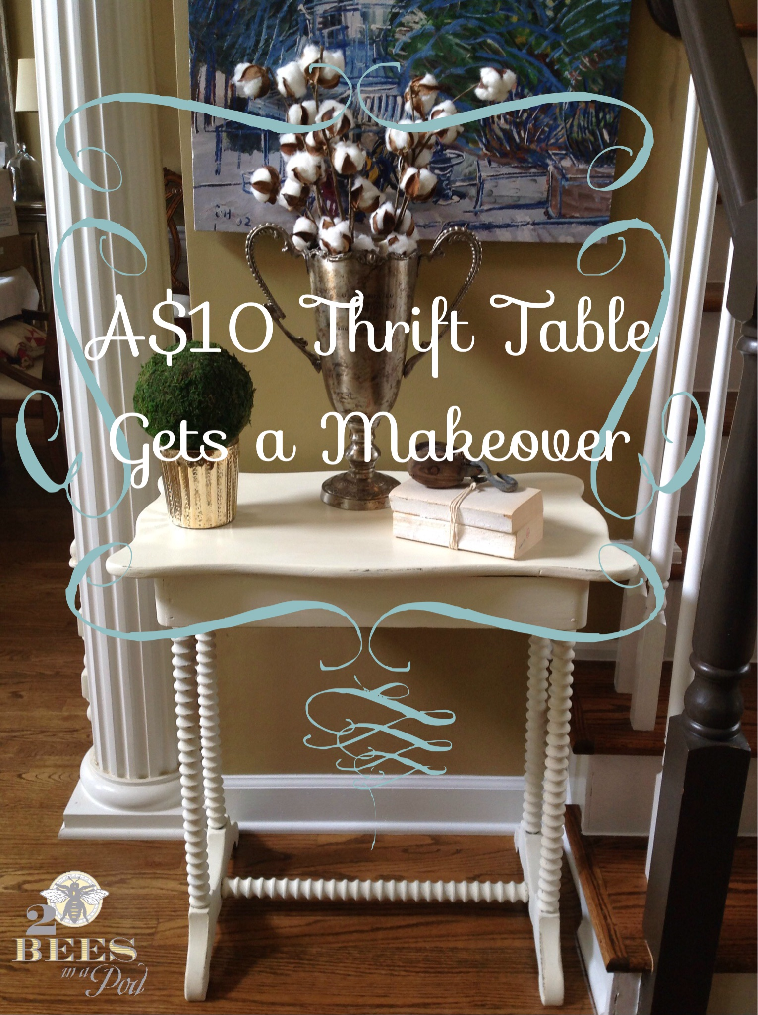 A $10 Thrifted Table Gets a Makeover - with homemade chalk paint, distressing and a coat of wax