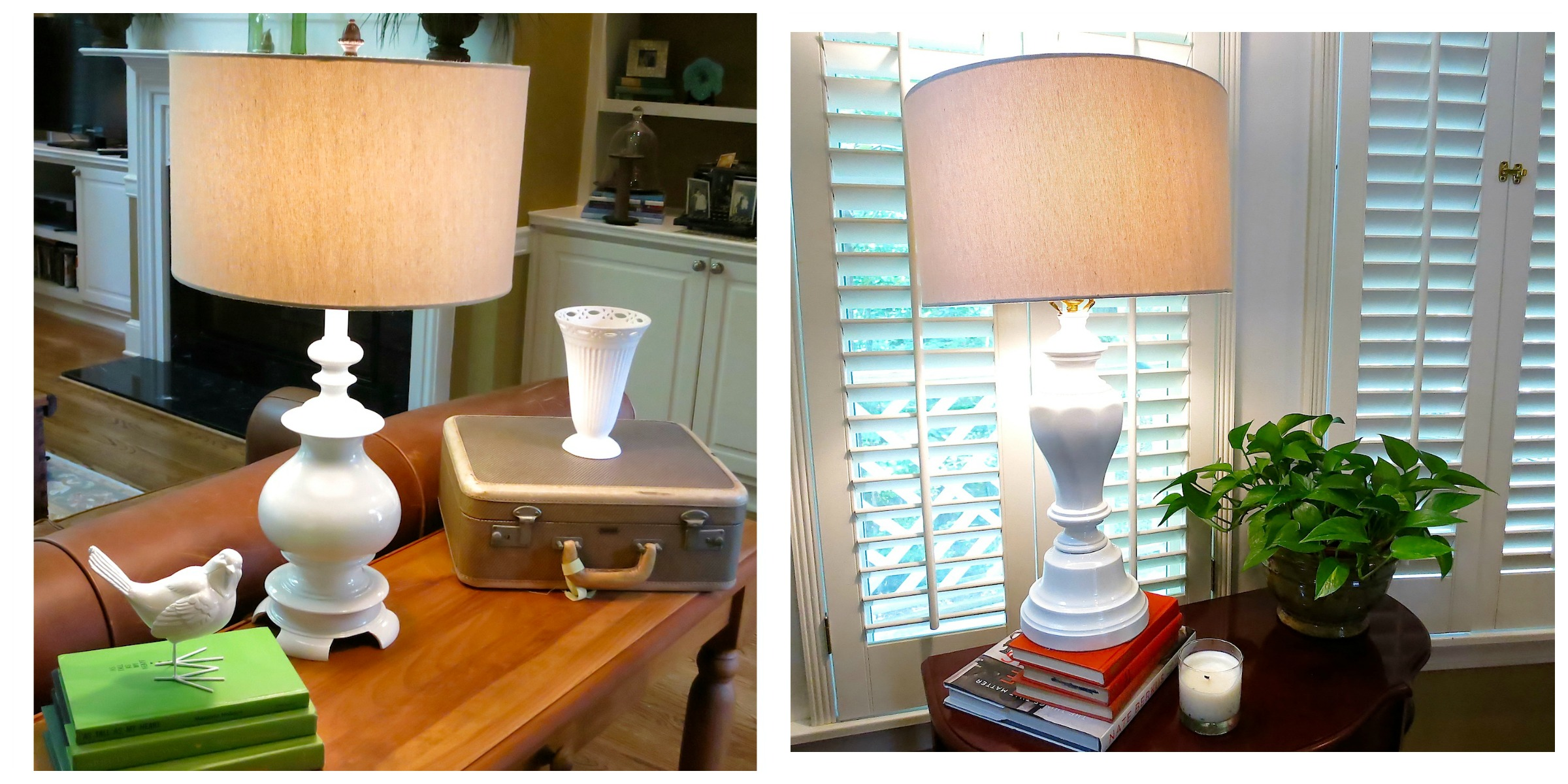 Brass Lamp Makeover - a little bit of paint makes a big difference.