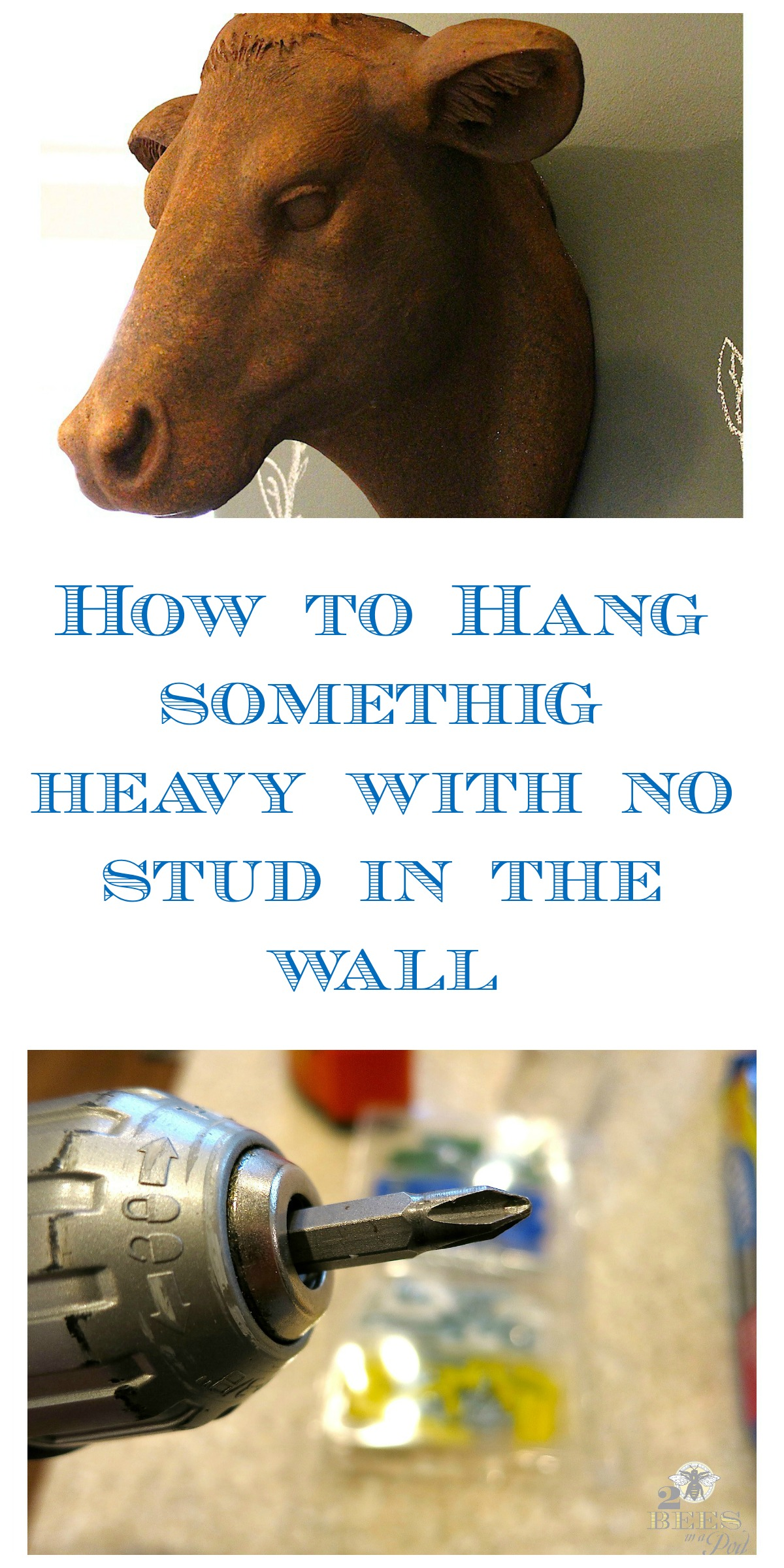 It is possible to hang something heavy on your wall with no stud. This way will also help avoid damage to your way.