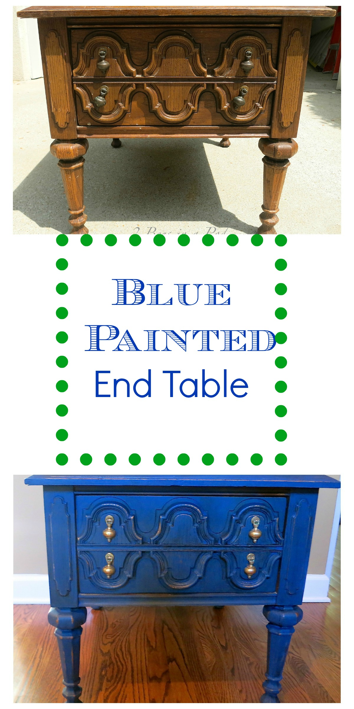 Blue Painted end table with customer color homemade chalk paint