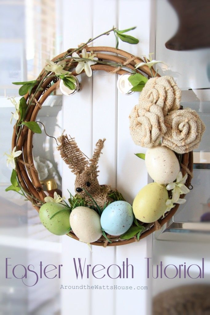 Friday Faves #60- favorite Springtime Easter Wreath. Burlap bunny