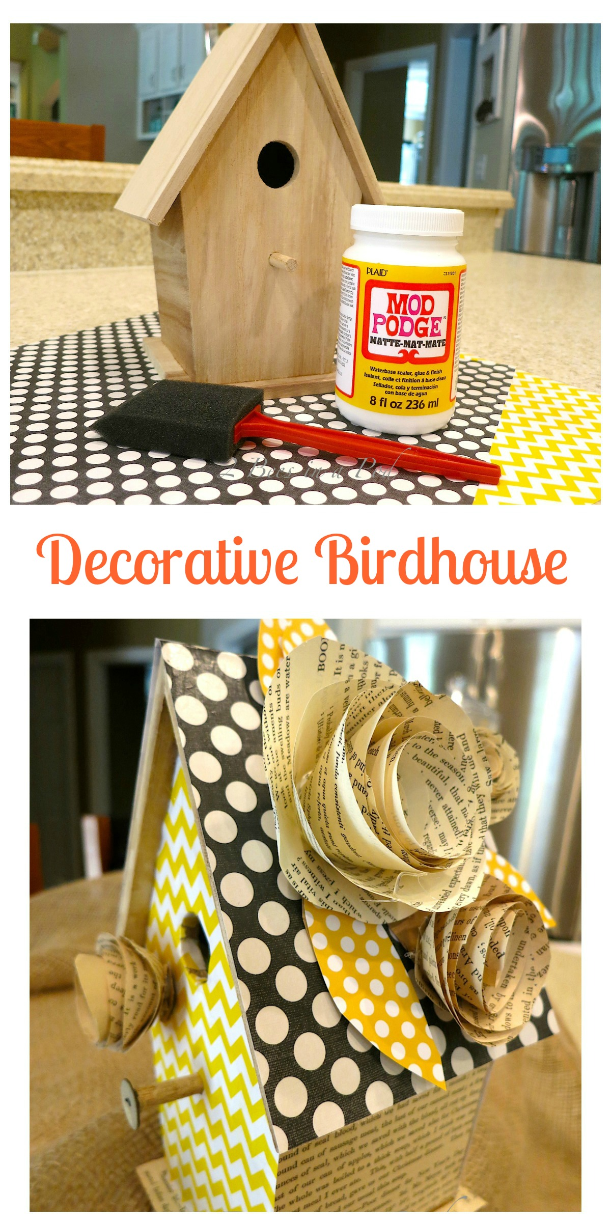 Decorative birdhouse using scrapbook paper, antique book pages and Mod Podge