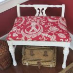 Vanity Bench Makeover - using homemade chalk paint an new fabric