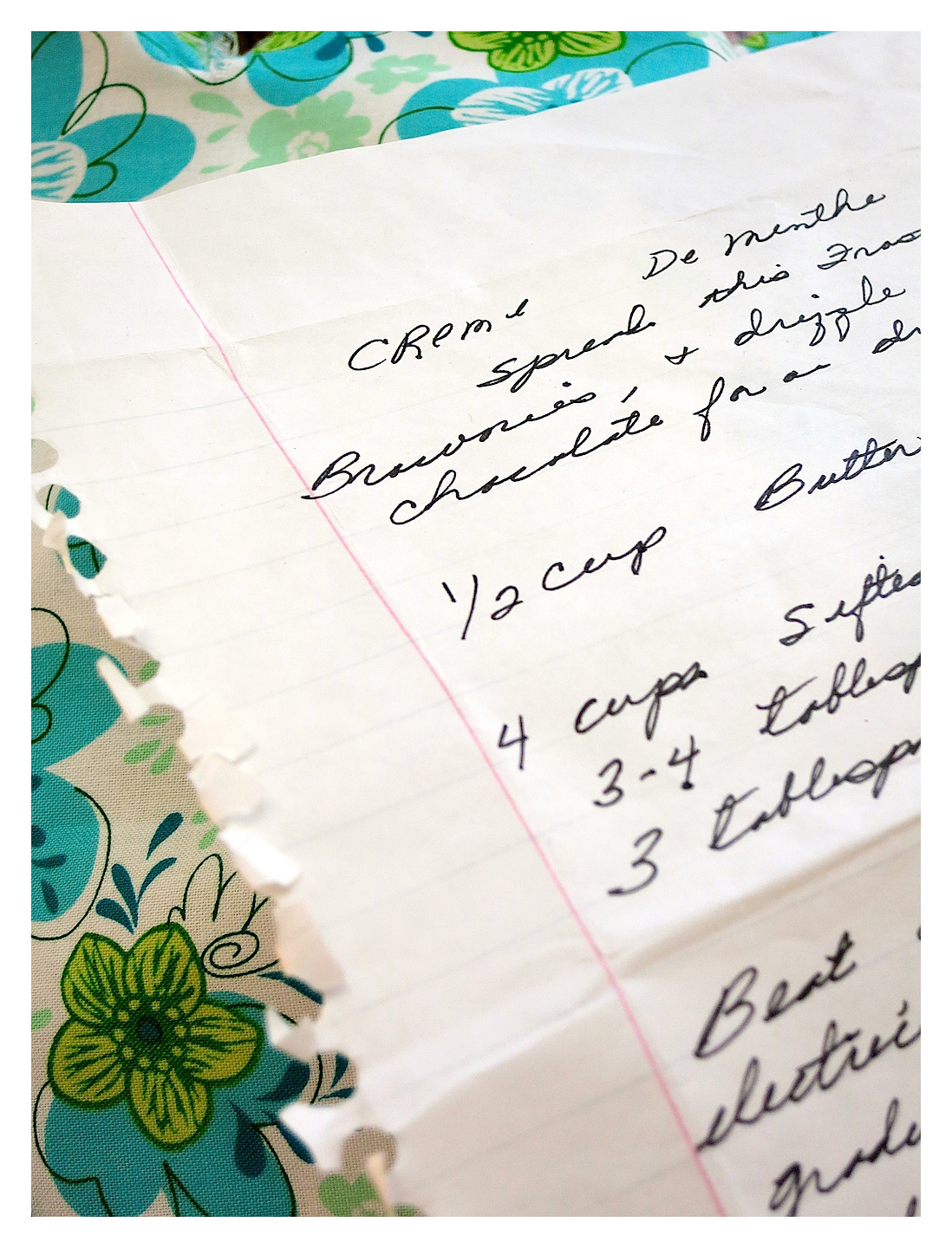Family Recipe Swap…Mom's Creme de Menthe Frosting