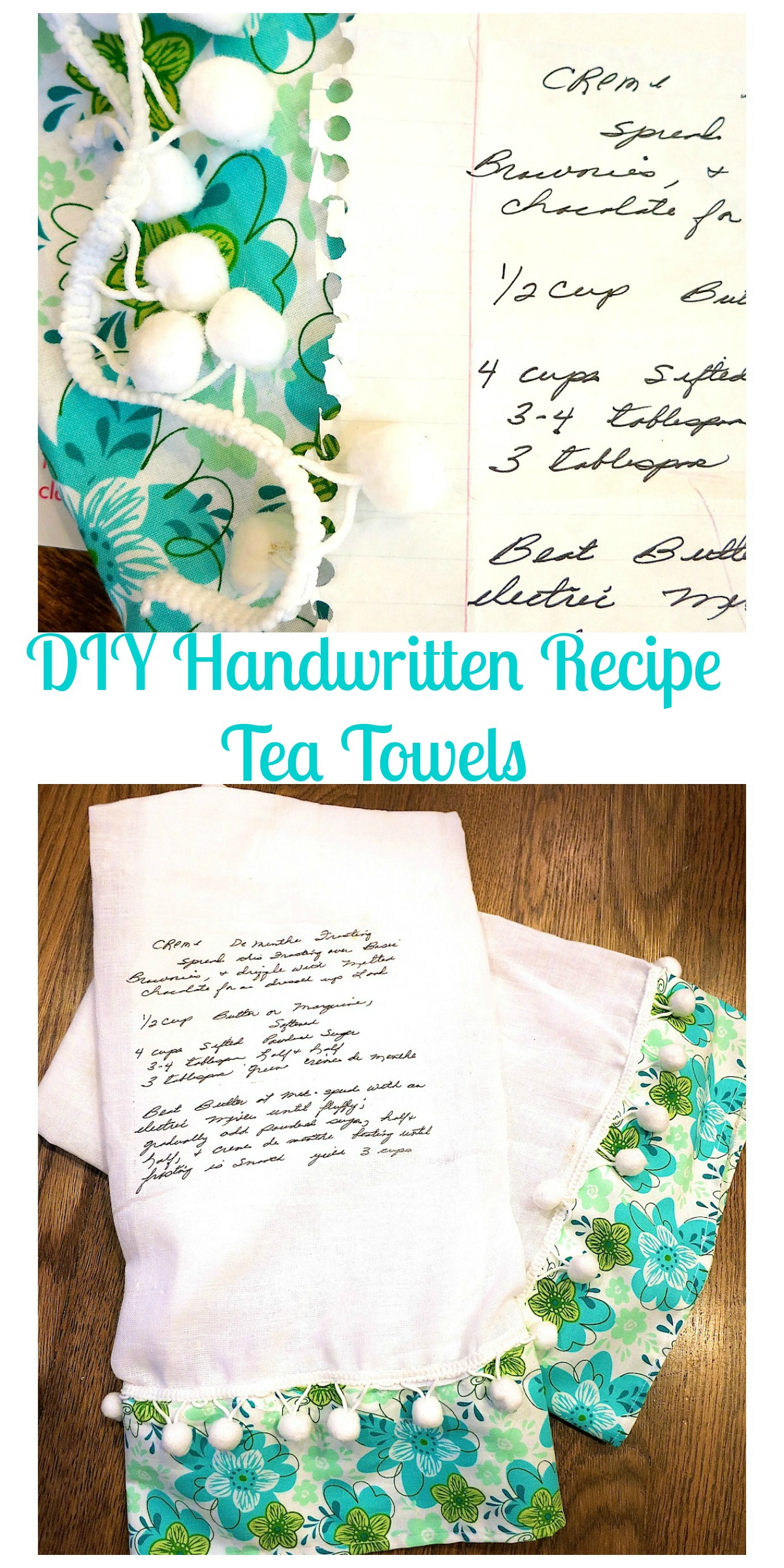 DIY Handwritten Recipe Tea Towels. Print a family recipe onto a tea towel. Great keepsake gift for Mother's Day, Birthday or Christmas. Wonderful way to share a treasured family recipe!