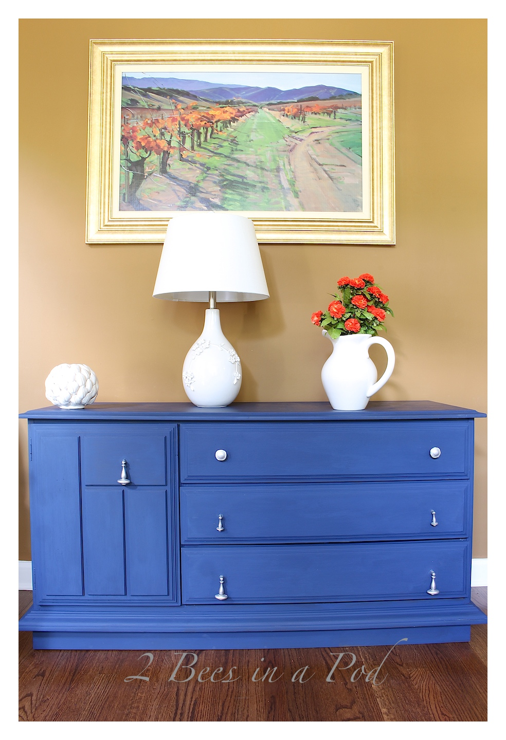 Painted Furniture - Annie Sloan Chalk Paint Buffet Makeover in Napoleonic Blue