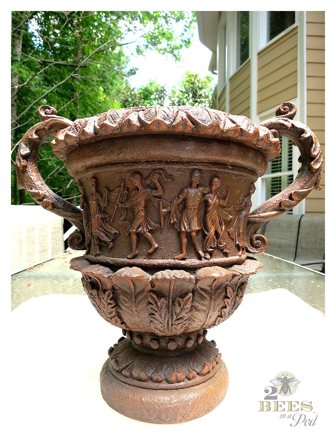 Chalk painted decorative urn. Chalk Paint a resin or plastic vase and make it look like vintage plaster.
