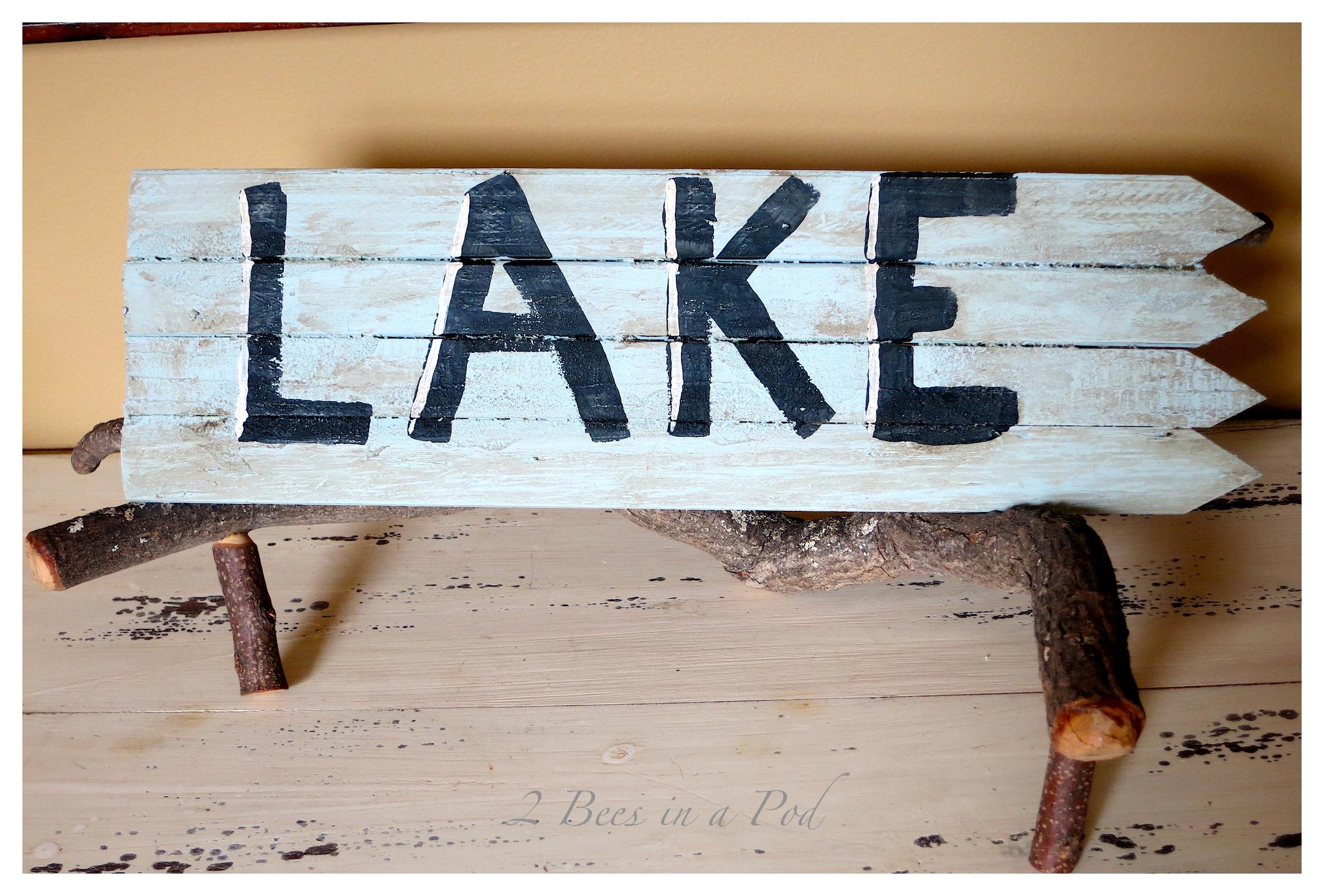 DIY Rustic Lake Sign