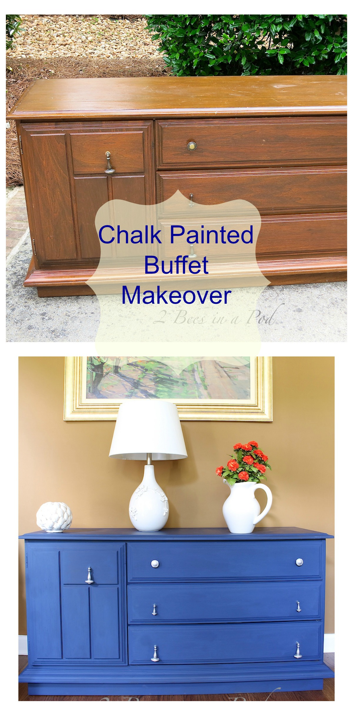 Painted Furniture Annie Sloan Chalk Paint Buffet Makeover In Napoleonic Blue