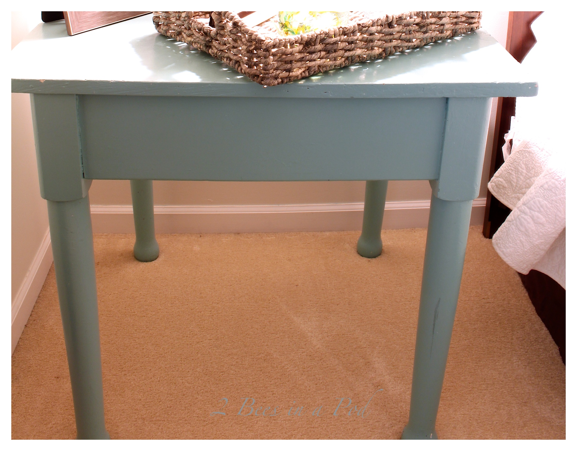 Painted Furniture -Side Table Makeover with Annie Sloan Chalk Paint Napeoleonic Blue